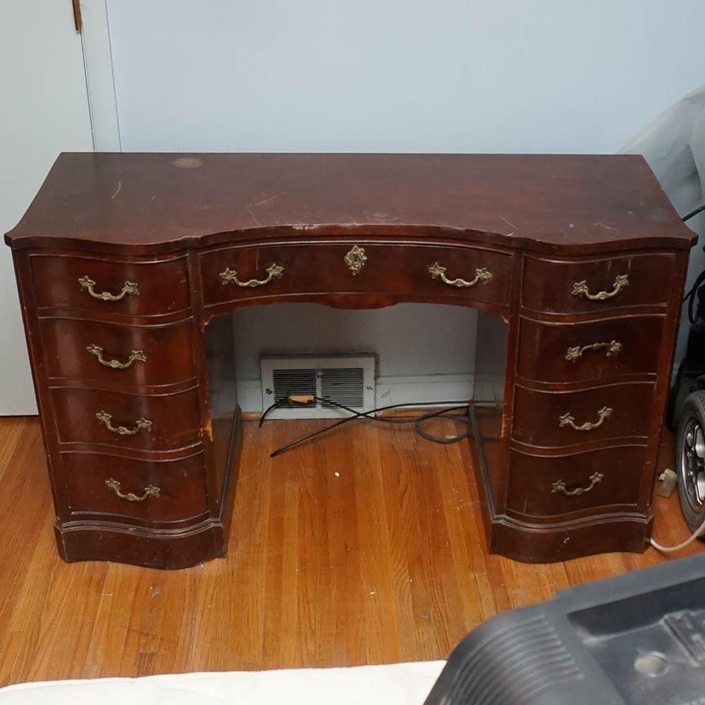 Vintage Mahogany Finish Pedestal Desk