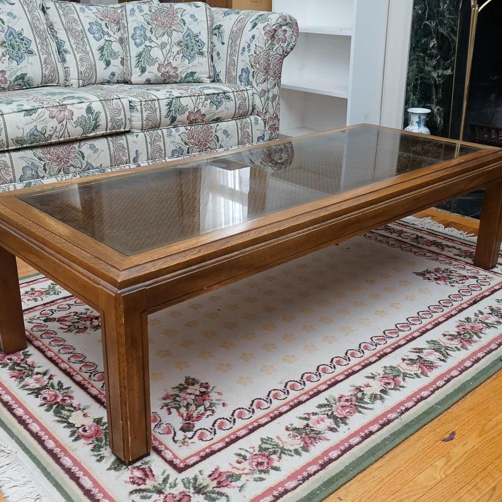 Oak Finish Glass Top Coffee Table
