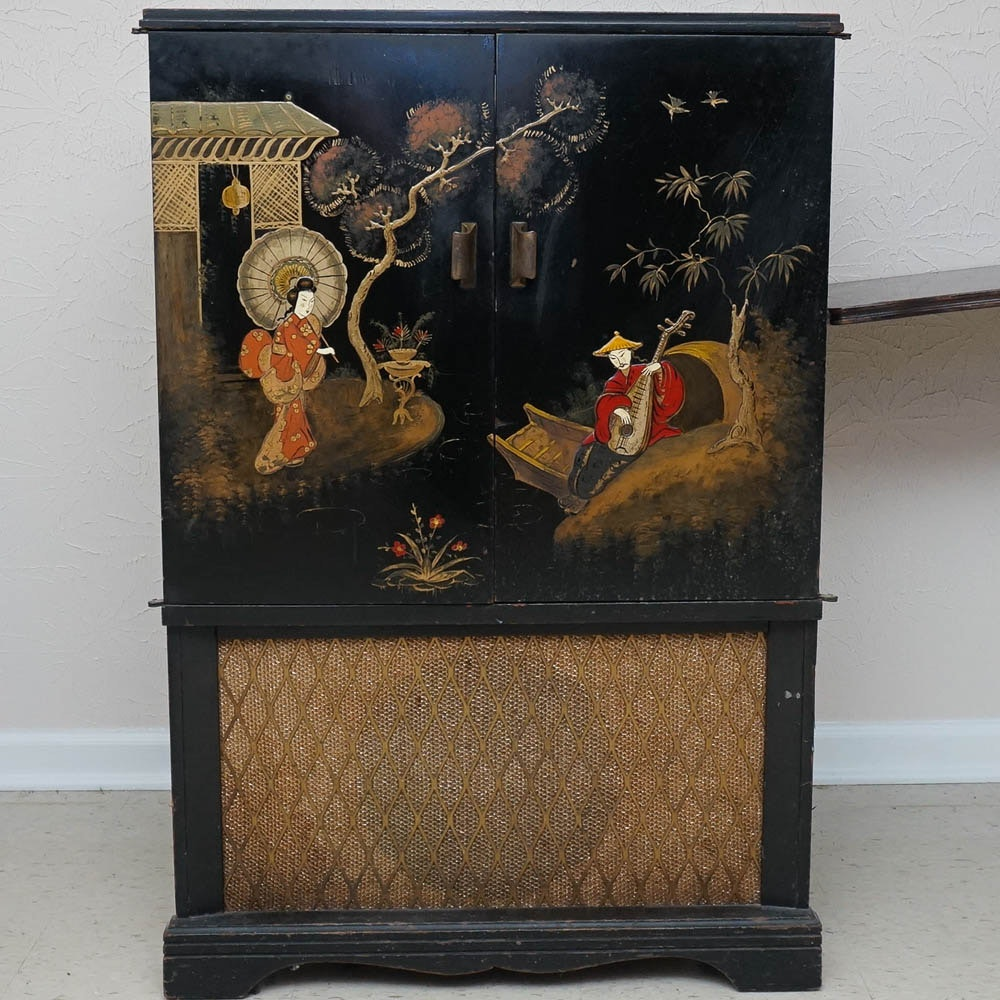 Vintage Japanese Inspired Entertainment Cabinet