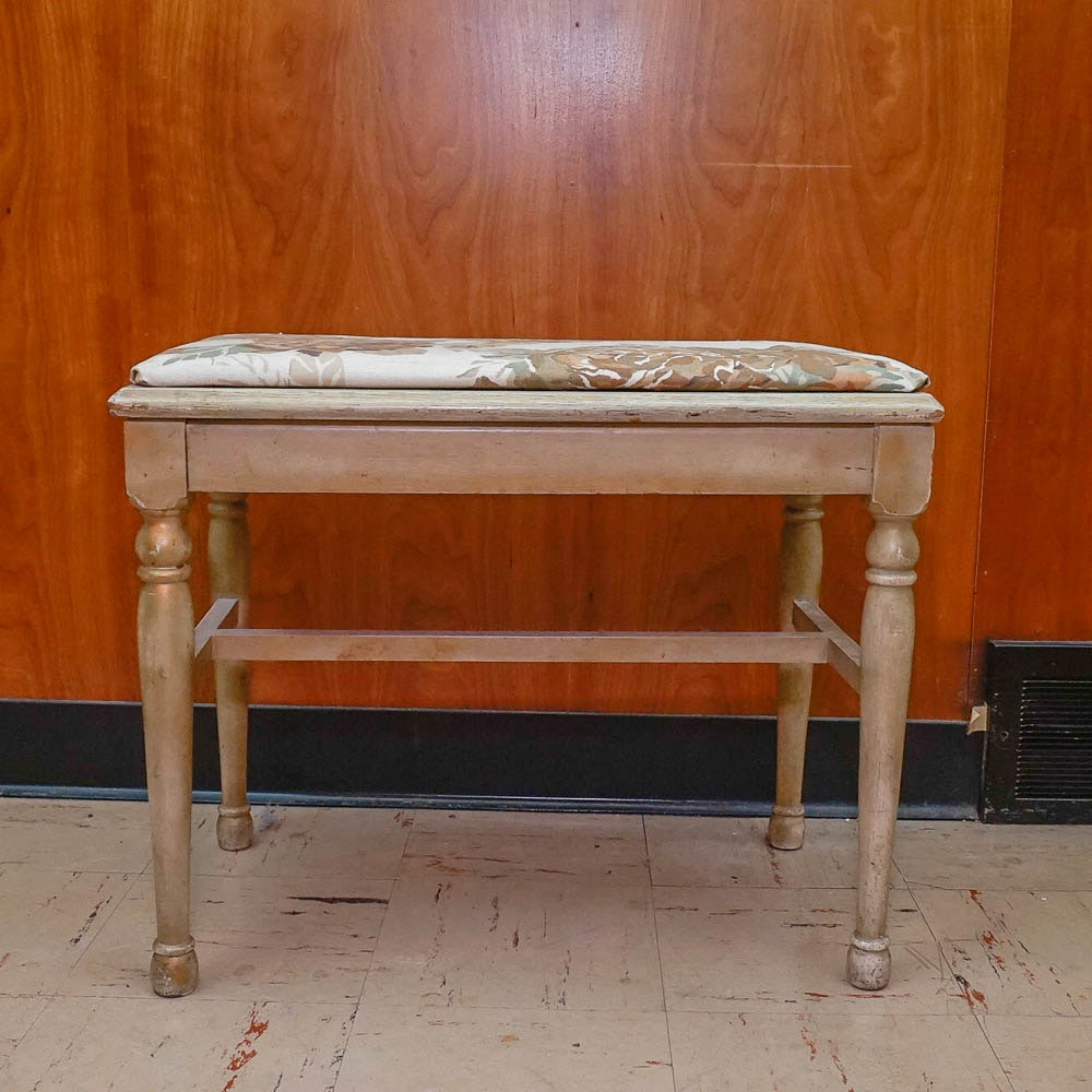 Floral Upholstered Painted Bench