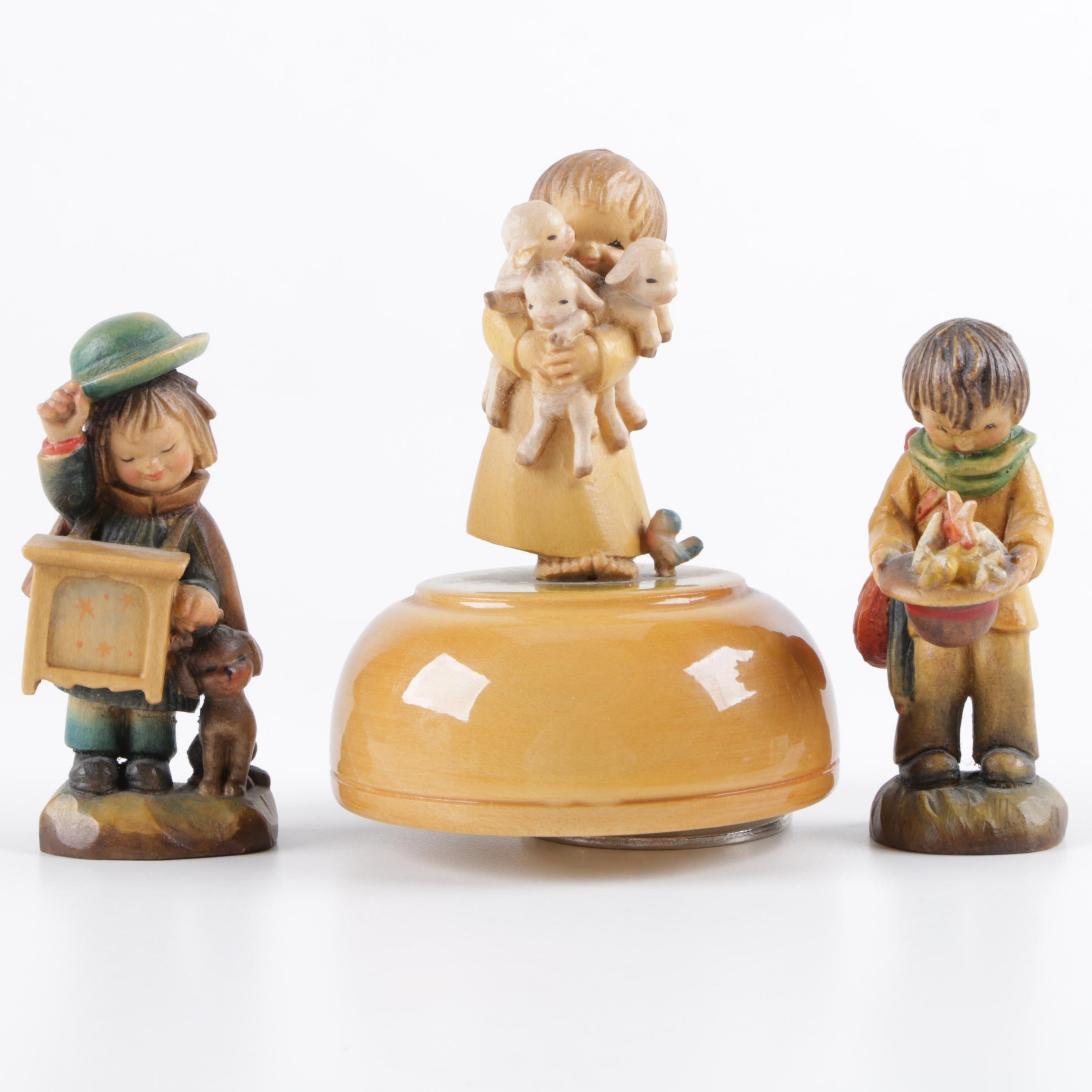 Reuge Music Box With Carved Wood Anri Boy and Girl Figurines
