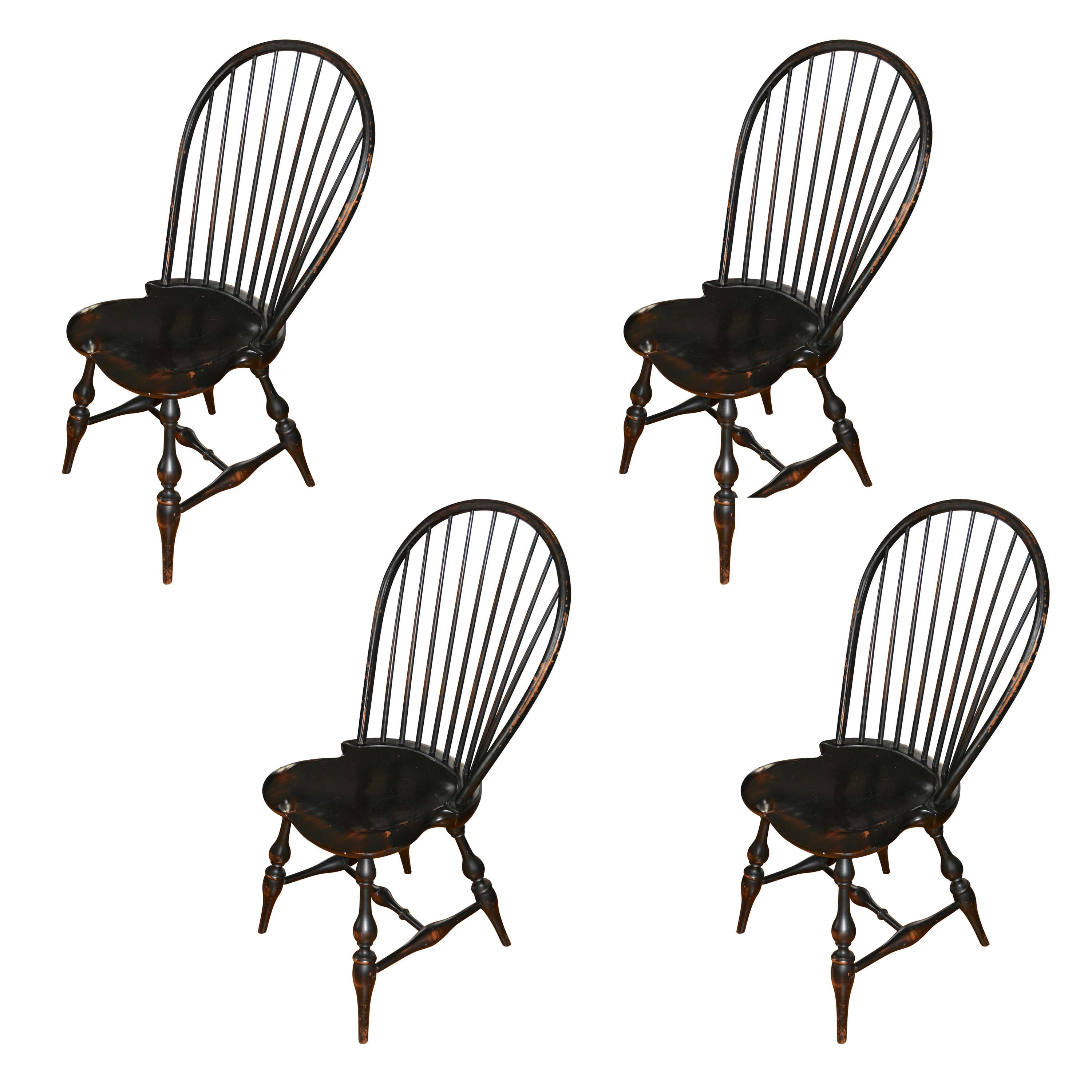 Set of Vintage Painted Windsor Chairs by D.R. Dimes