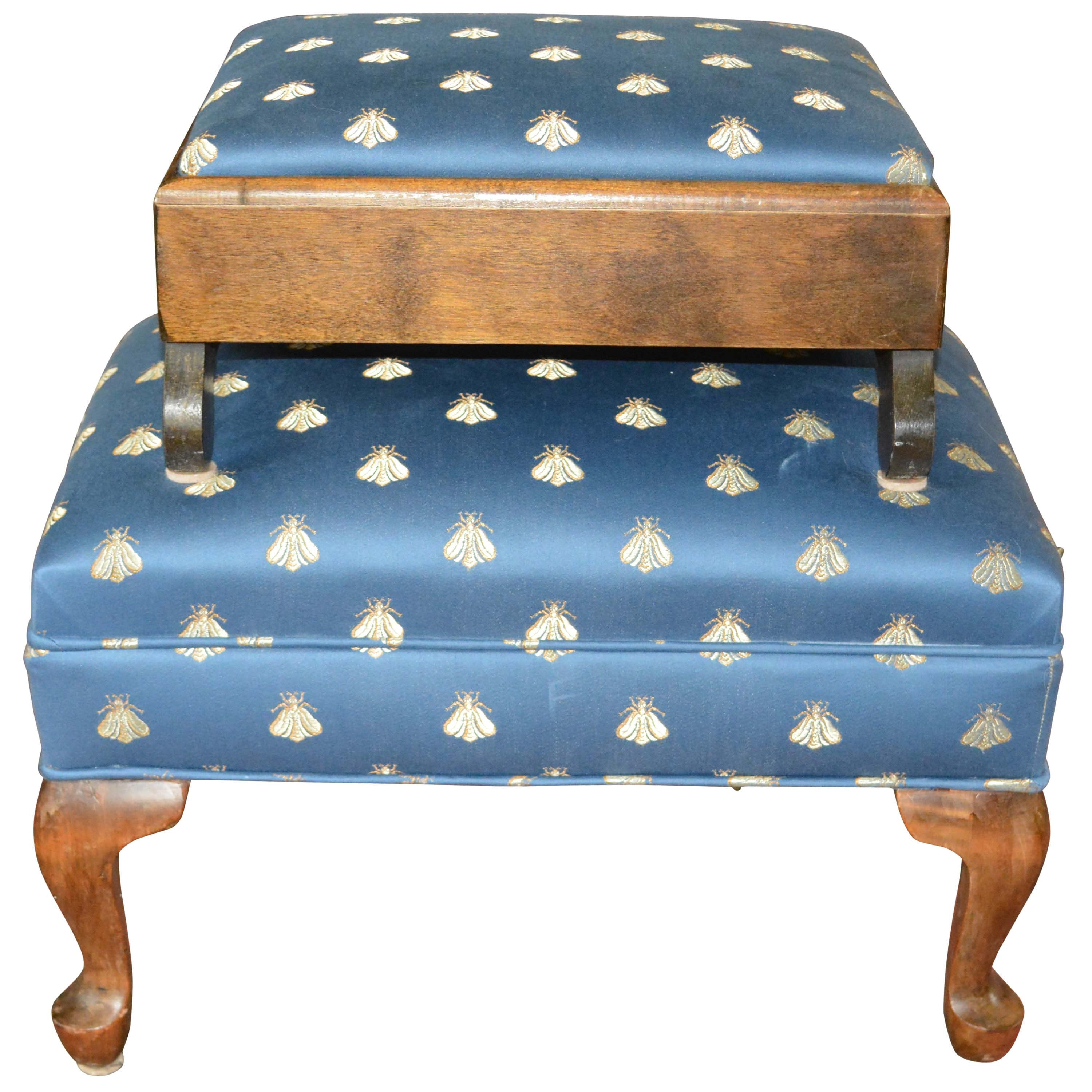 Pair of Print Upholstered Footstools