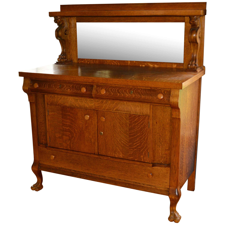 Antique Victorian Oak Sideboard with Mirrored Backsplash