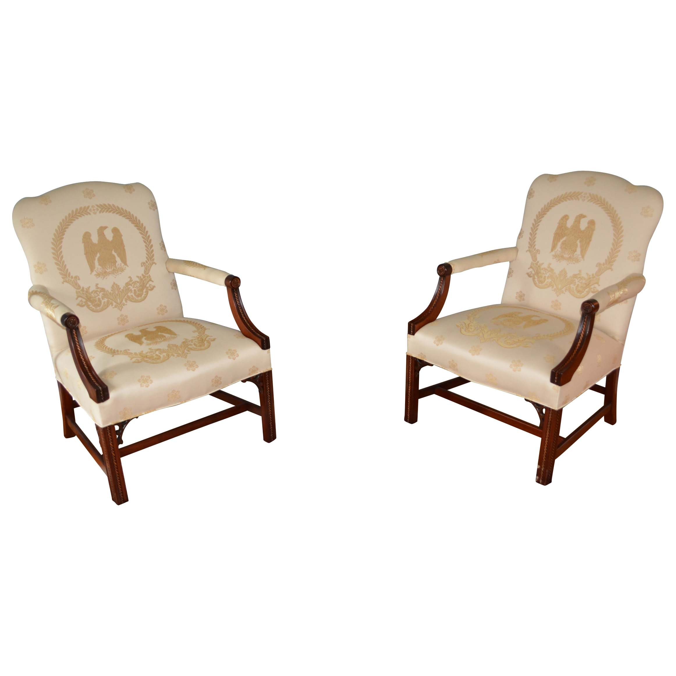 Colonial Themed Upholstered Arm Chairs