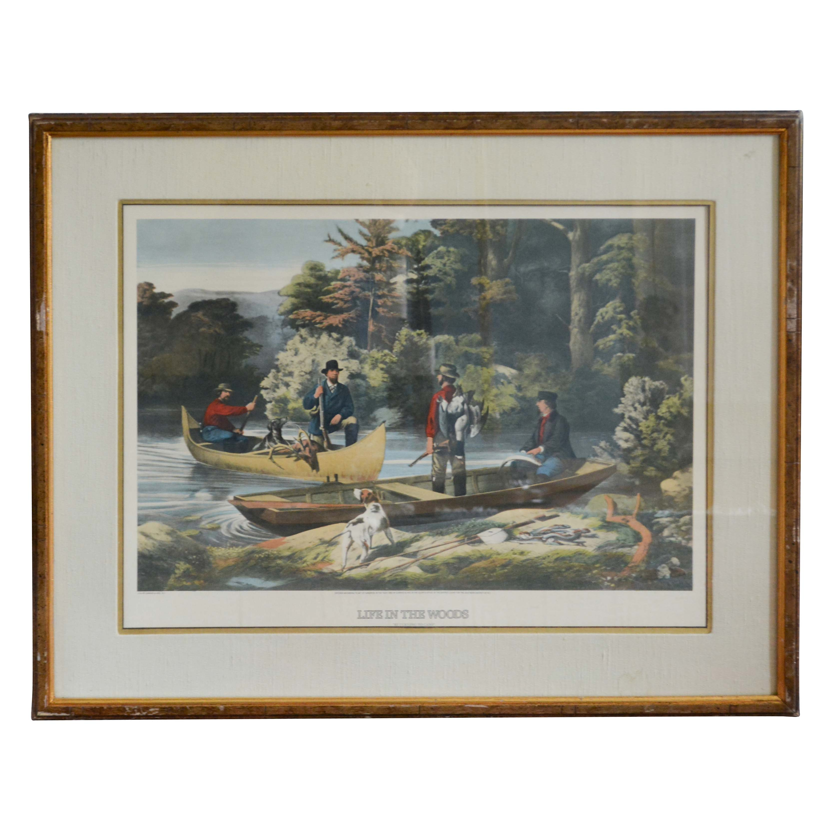 """Currier and Ives Lithographic Print """"Life in the Woods"""""""