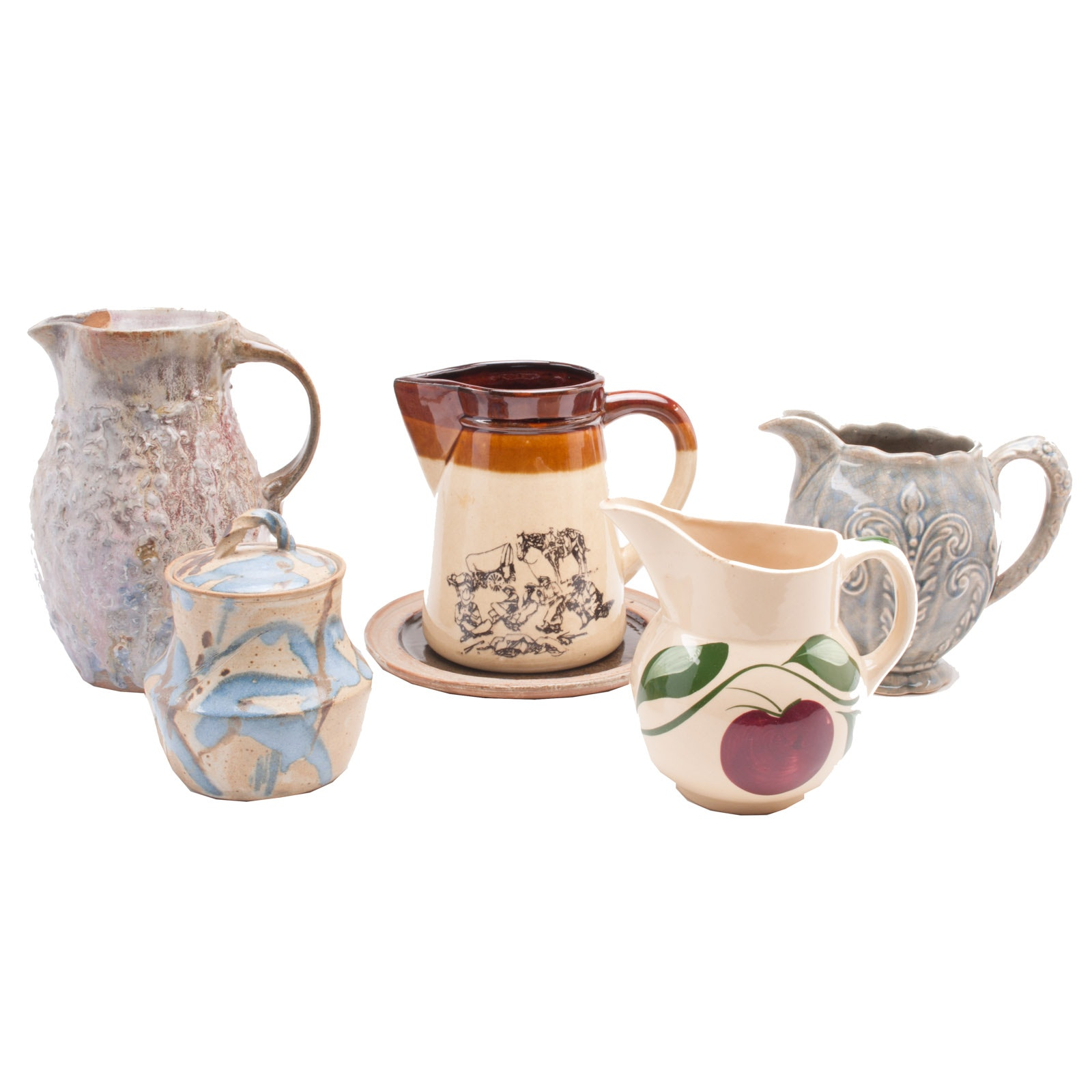 Selection of Vintage Pottery Pitchers and Jar