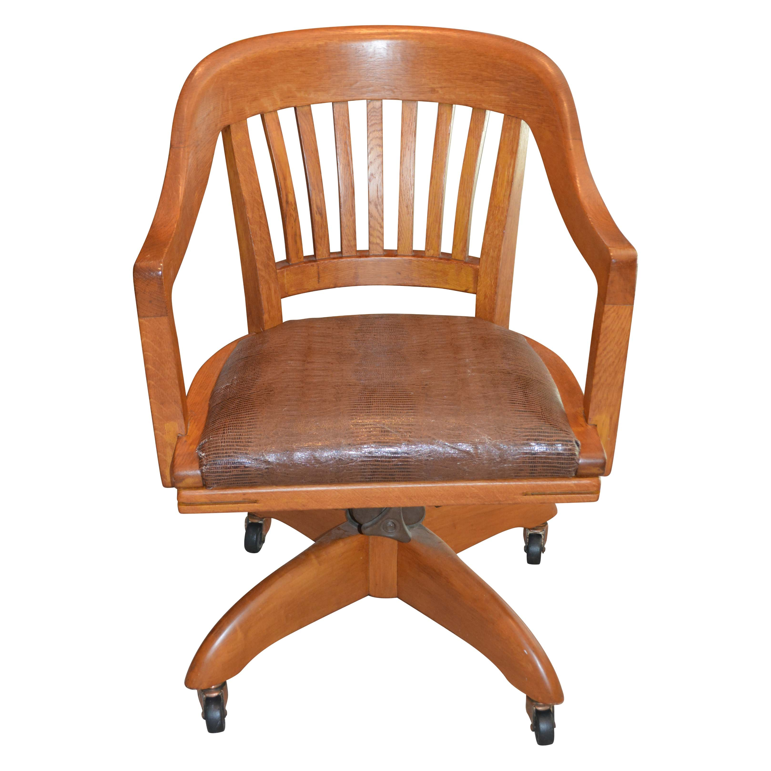 Vintage Oak Office Chair with Crocodile Print Seat