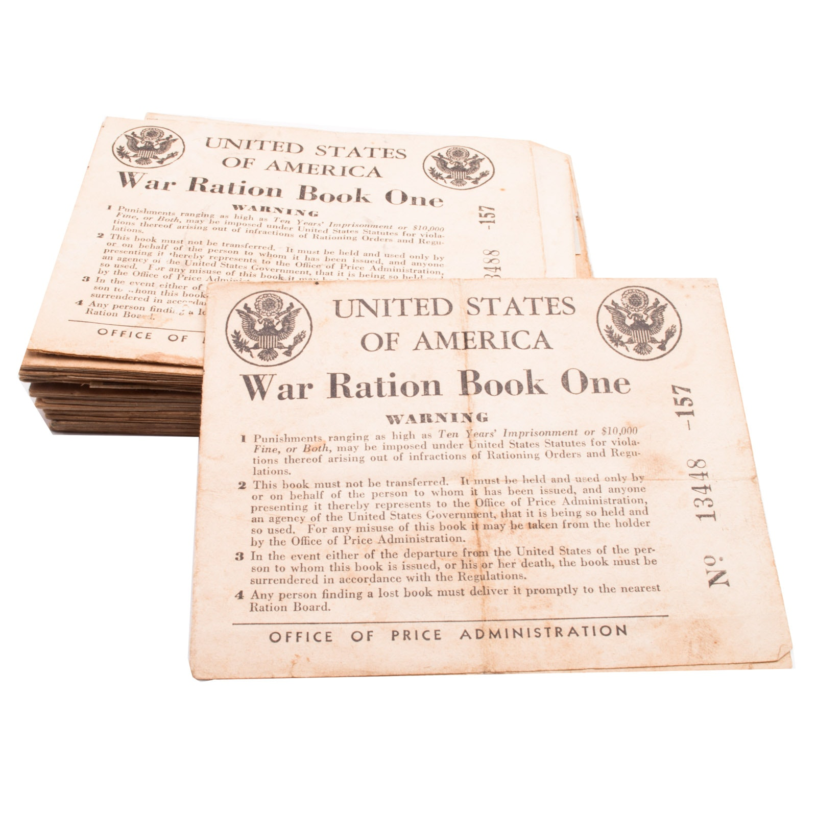 Assorted WWII United States War Ration Books With Coupons