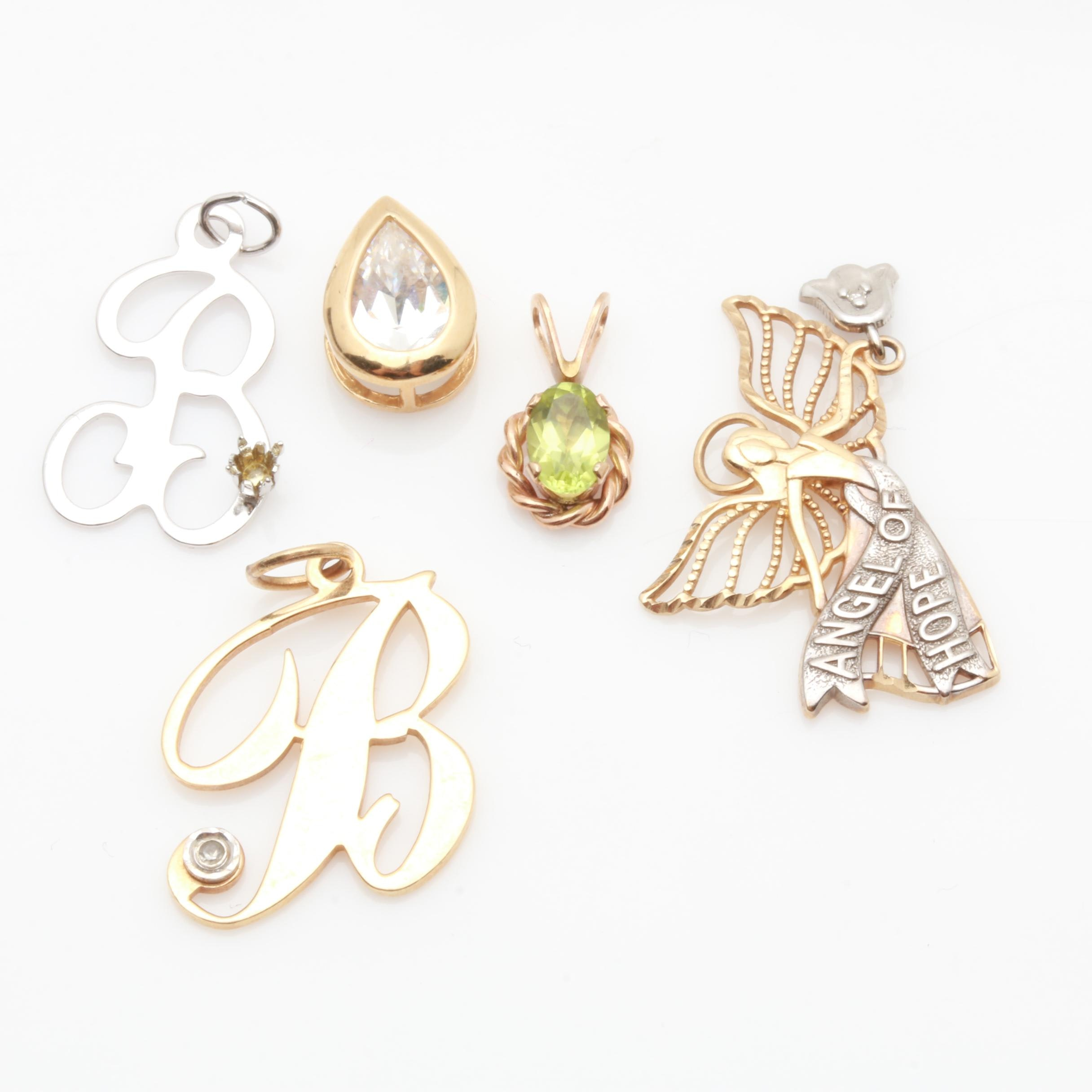 Yellow Gold and Sterling Silver Peridot, Cubic Zirconia and Diamond Pendants
