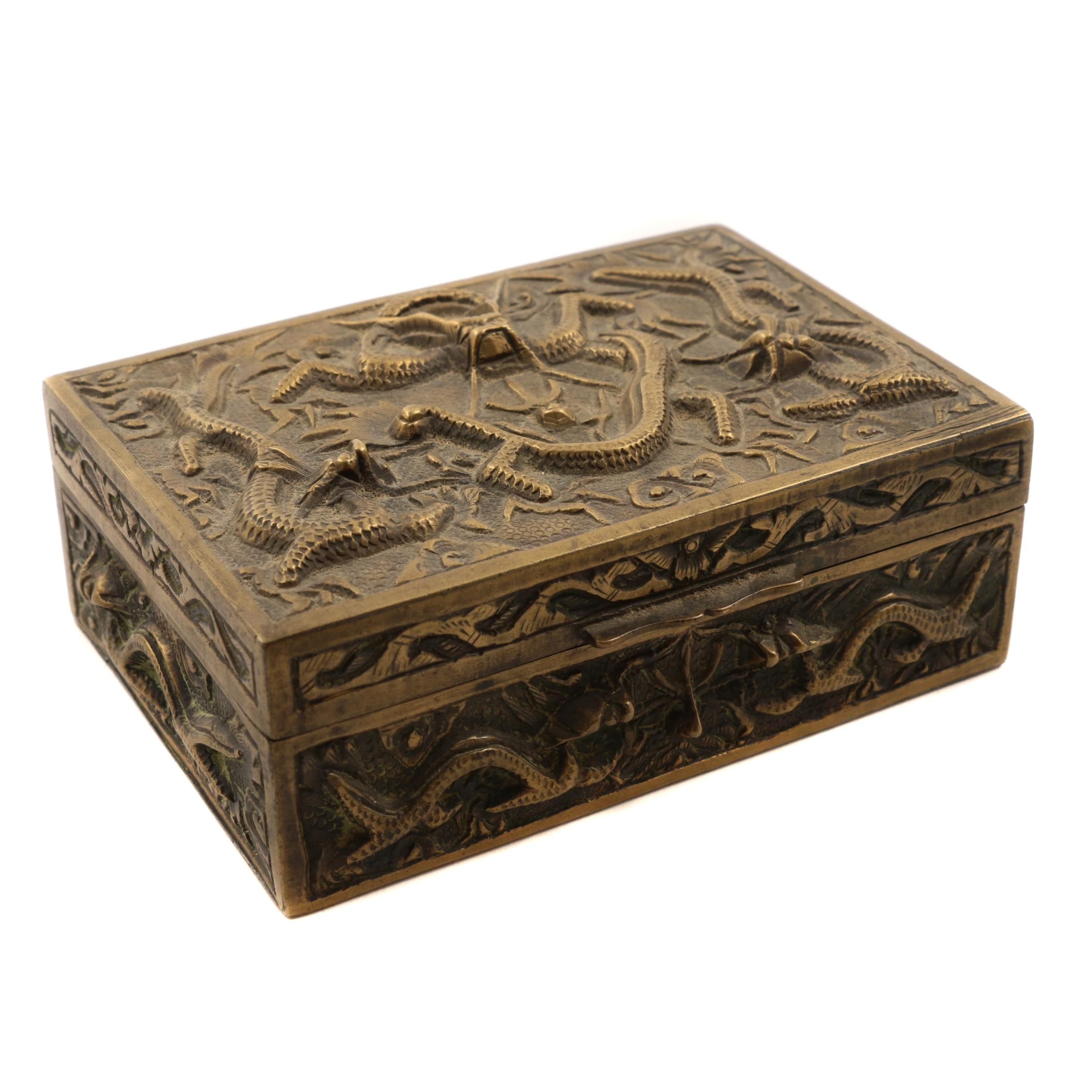 Vintage Brass Box With Asian Motif
