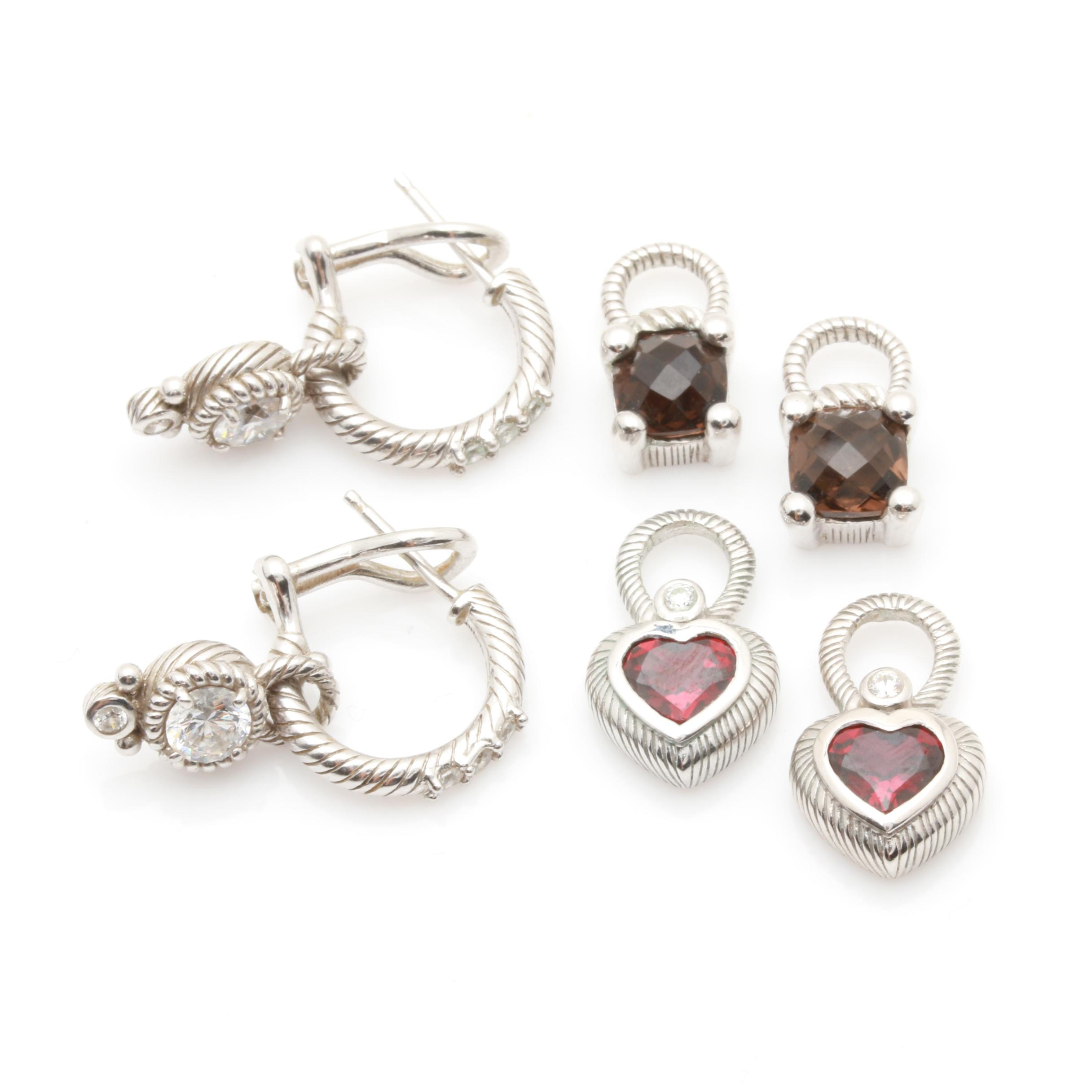 Judith Ripka Sterling Silver Cubic Zirconia and Smoky Quartz Earring and Jackets