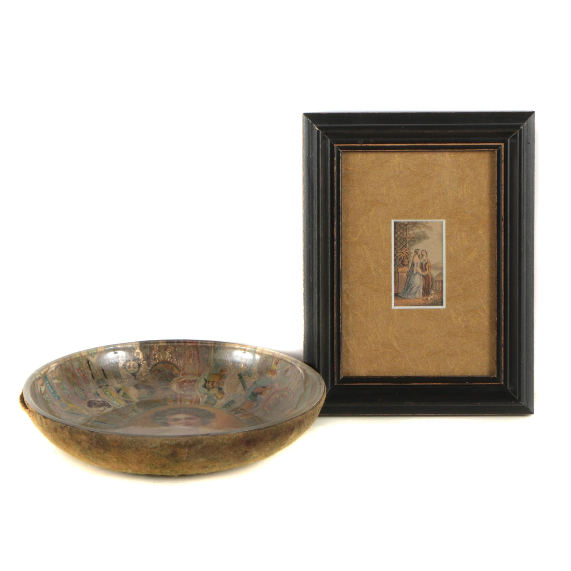 Hand-Colored Engraving and Bowl with Cigar Label Decoration