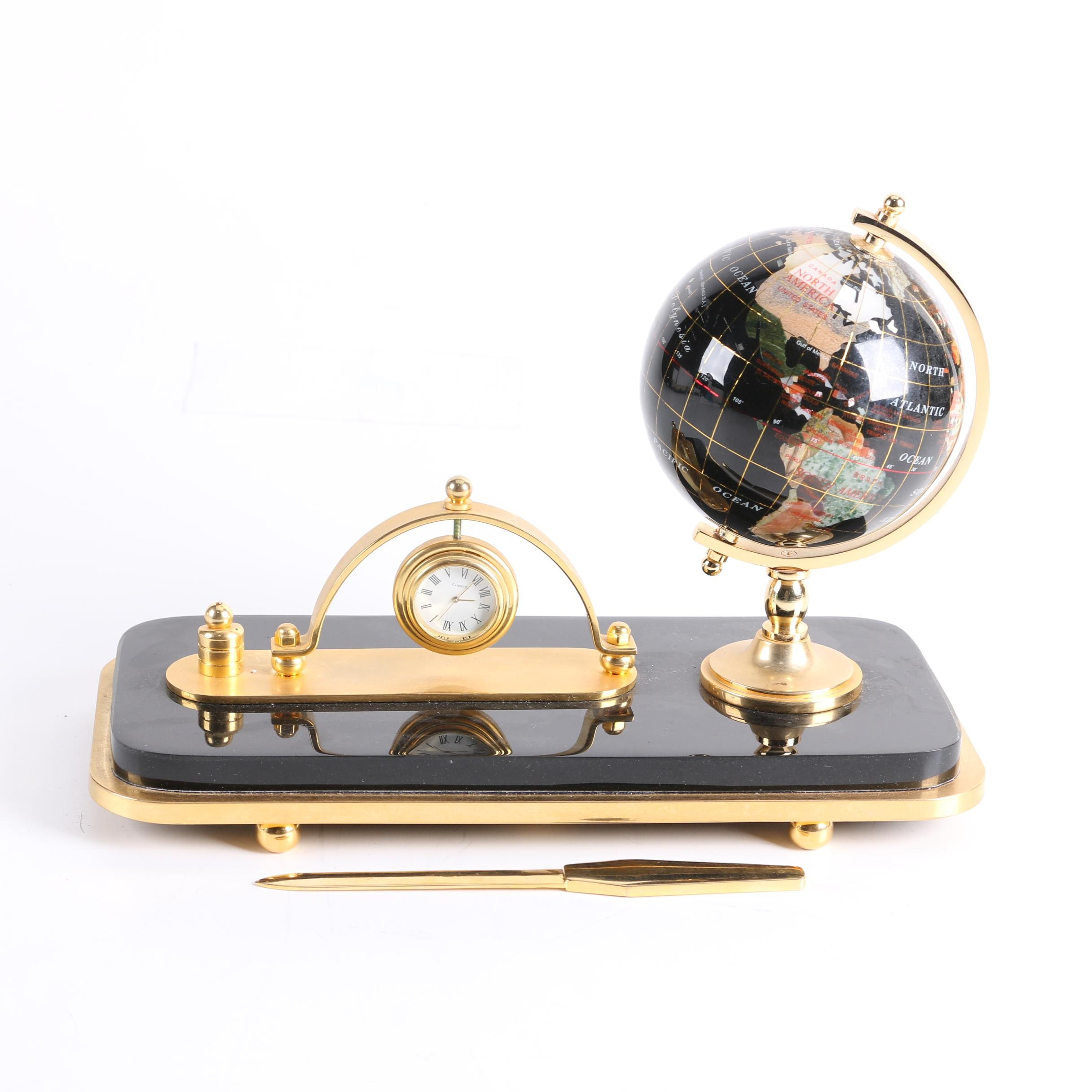 Desk Top Globe with Clock and Letter Opener