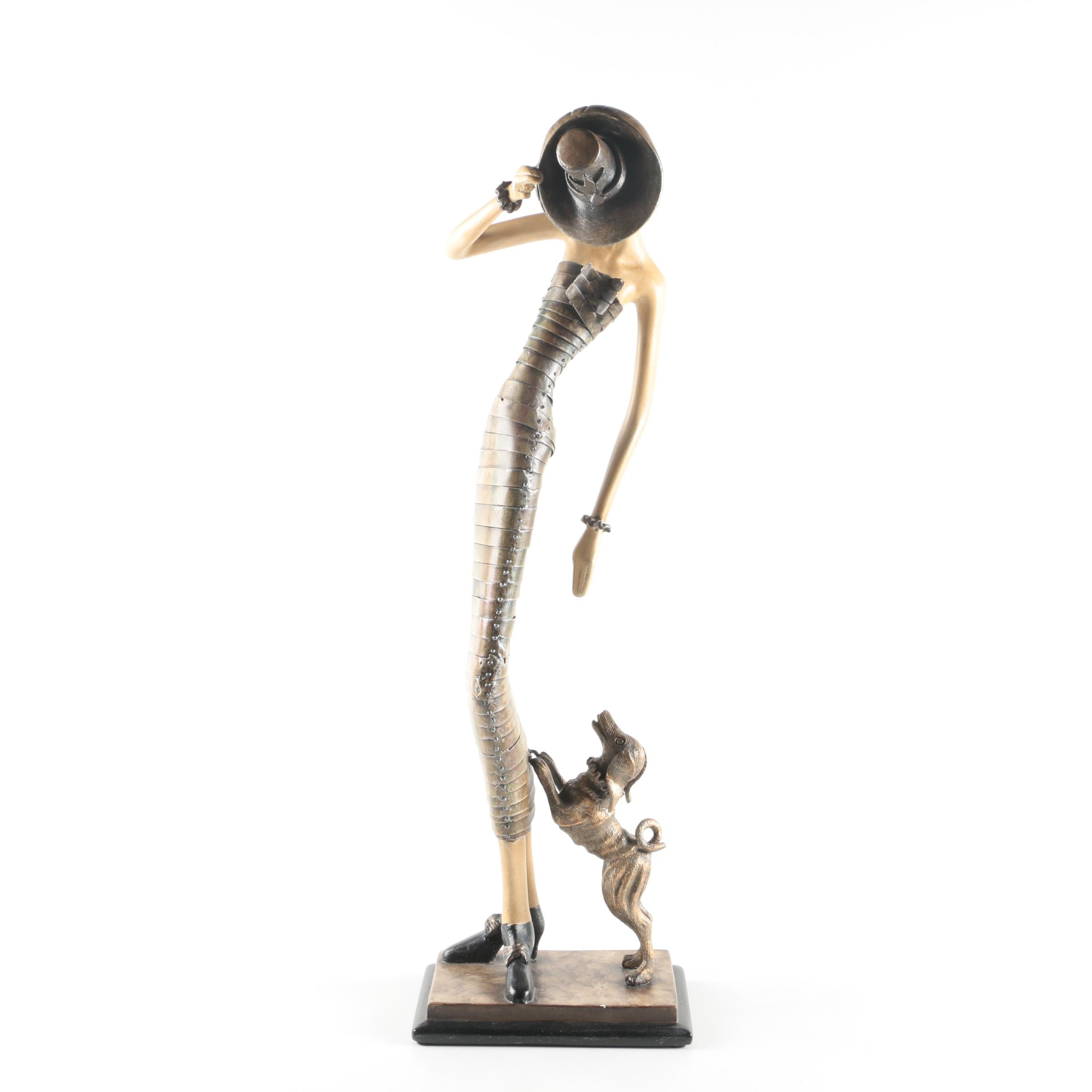 Art Deco Style Figurine depicting a Woman and Dog by Artmax