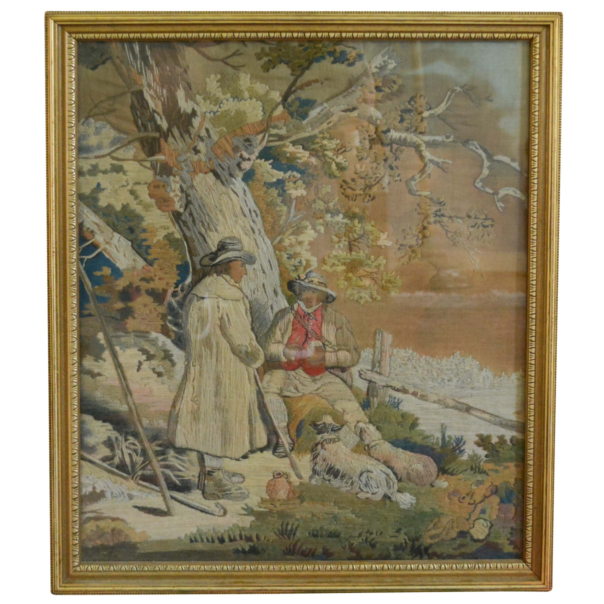 Wool Embroidery of Men Resting Under a Tree