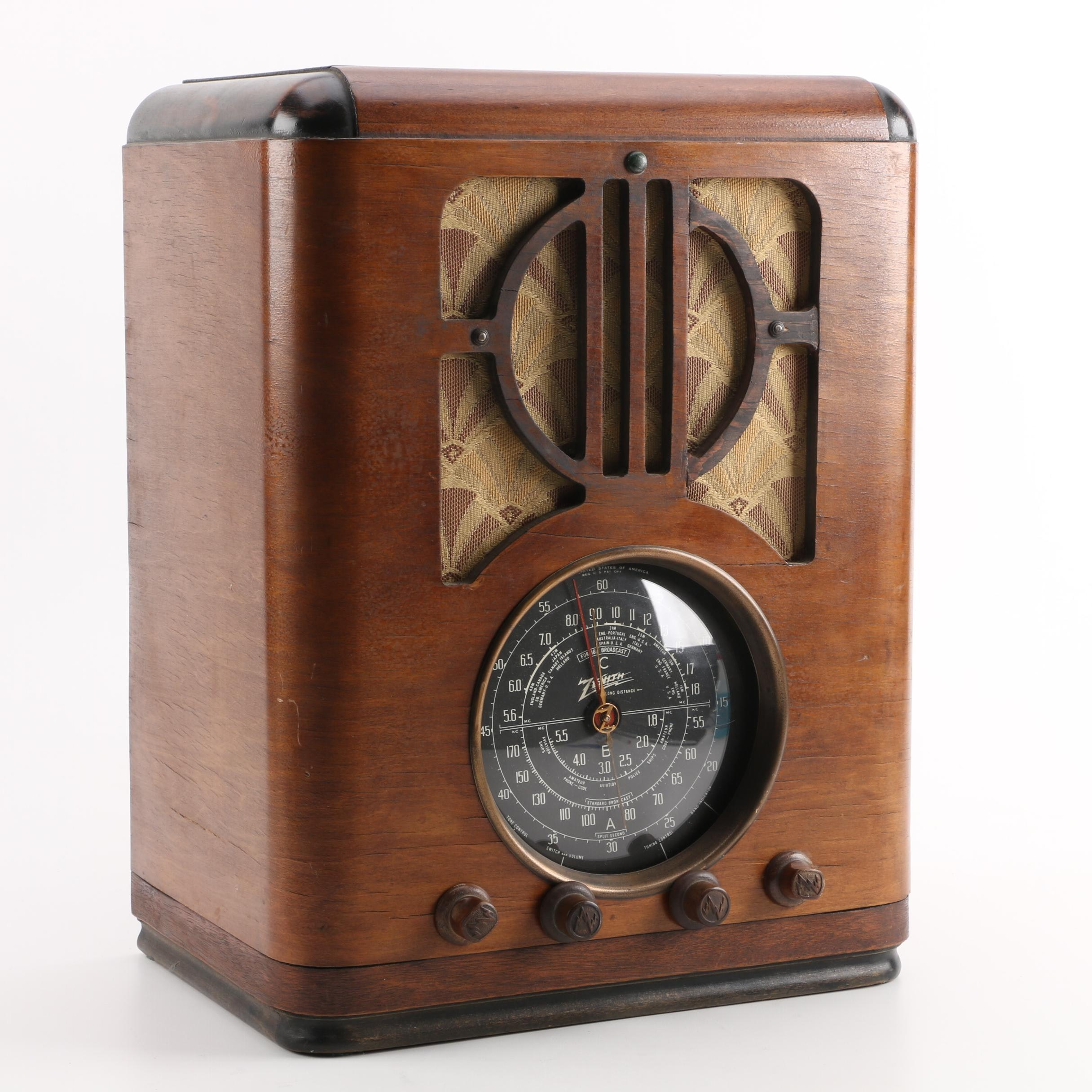 1937 Zenith 6S229 Tabletop Radio with Broadcast, Short Wave, and Police Bands