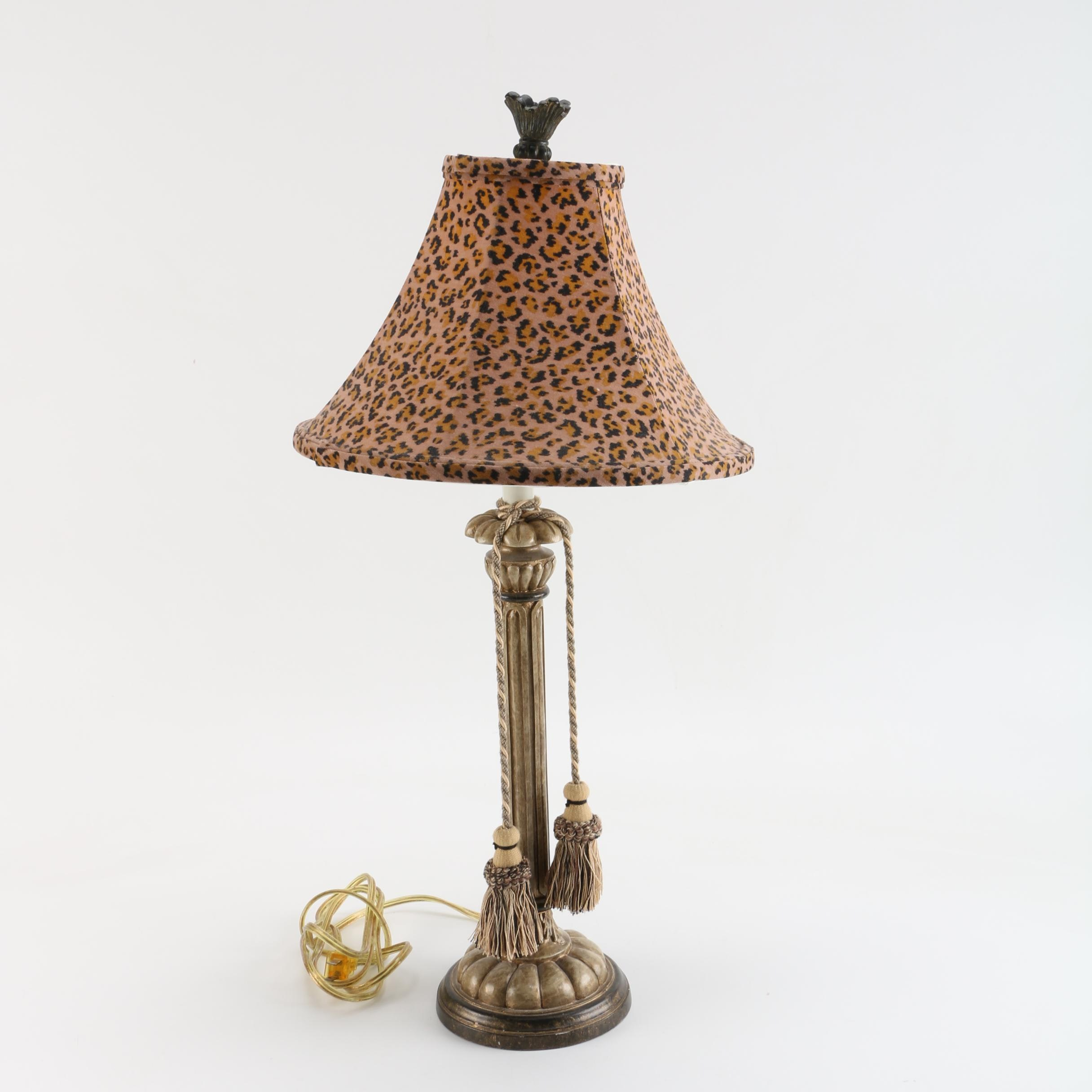 Pillar Table Lamp with Leopard Print Shade