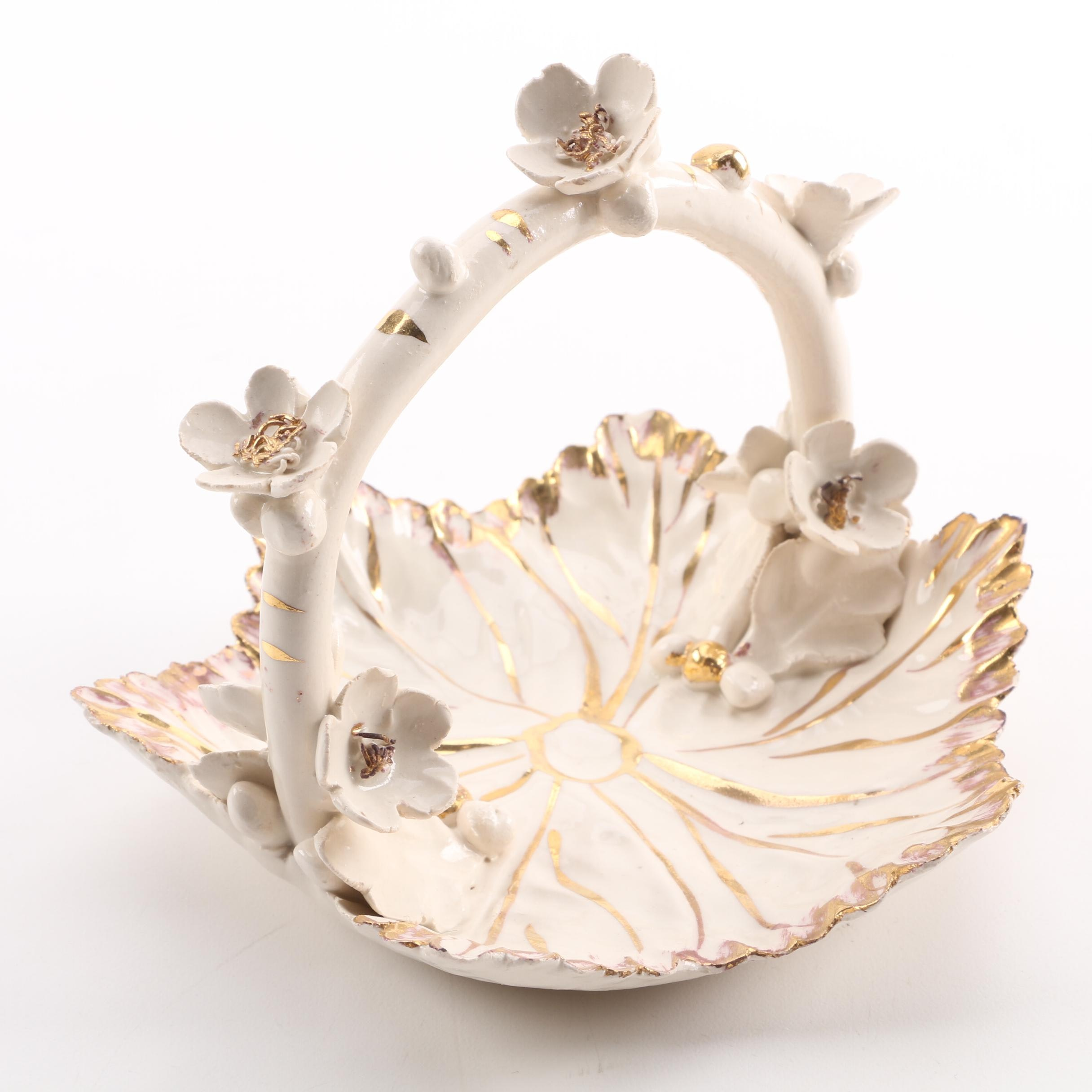 White Ceramic Italian Basket with Gold Tone Floral Accents