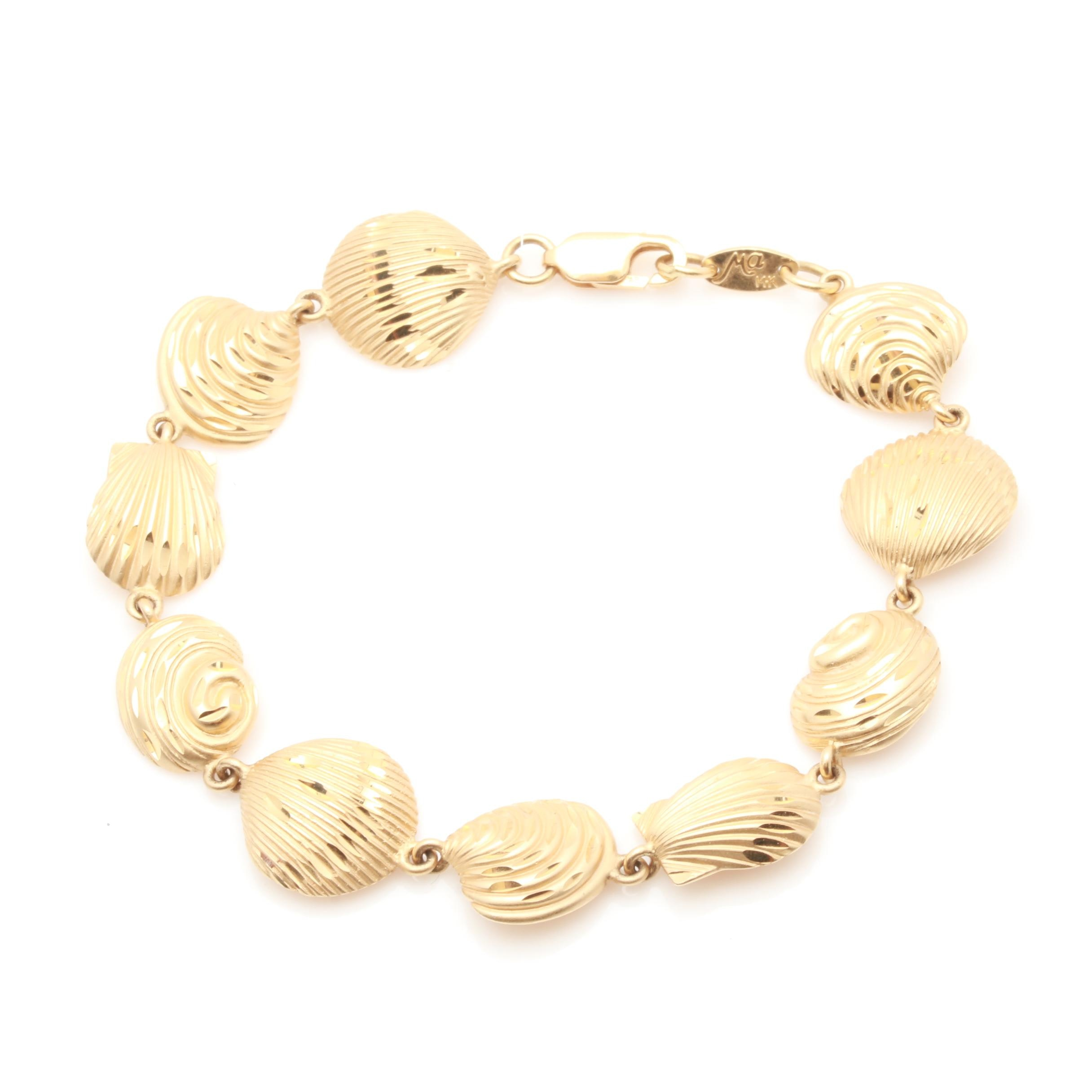 Michael Anthony 14K Yellow Gold Shell Link Bracelet