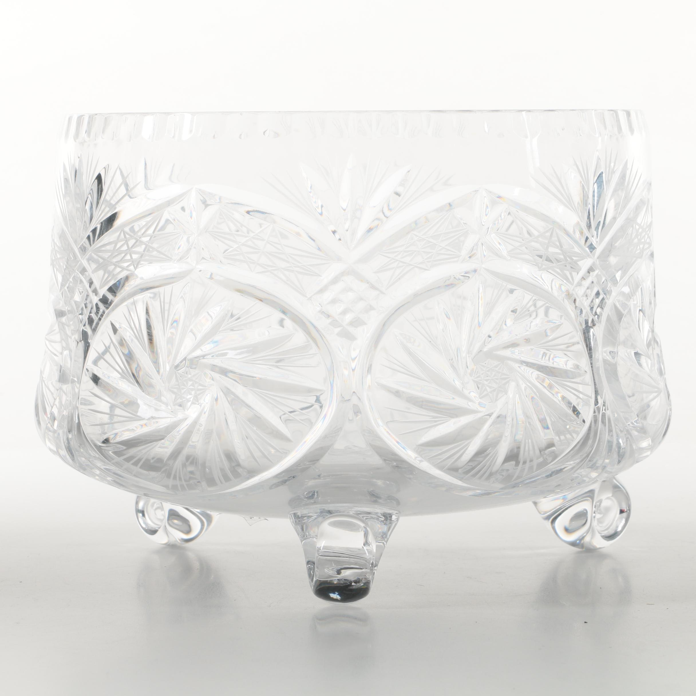 Wheel Cut Lead Crystal Centerpiece Bowl