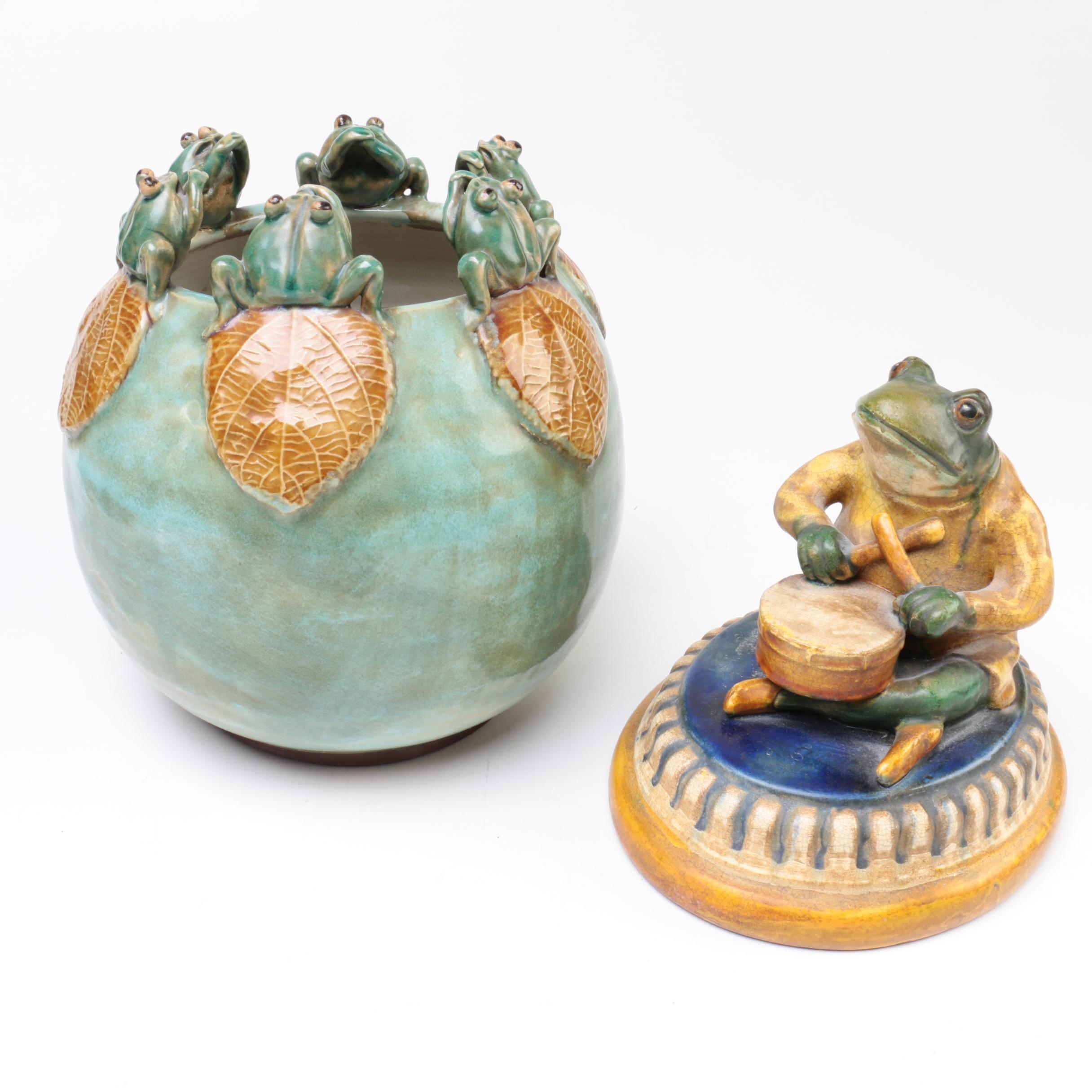 Decorative Ceramic Items with Frog Motif