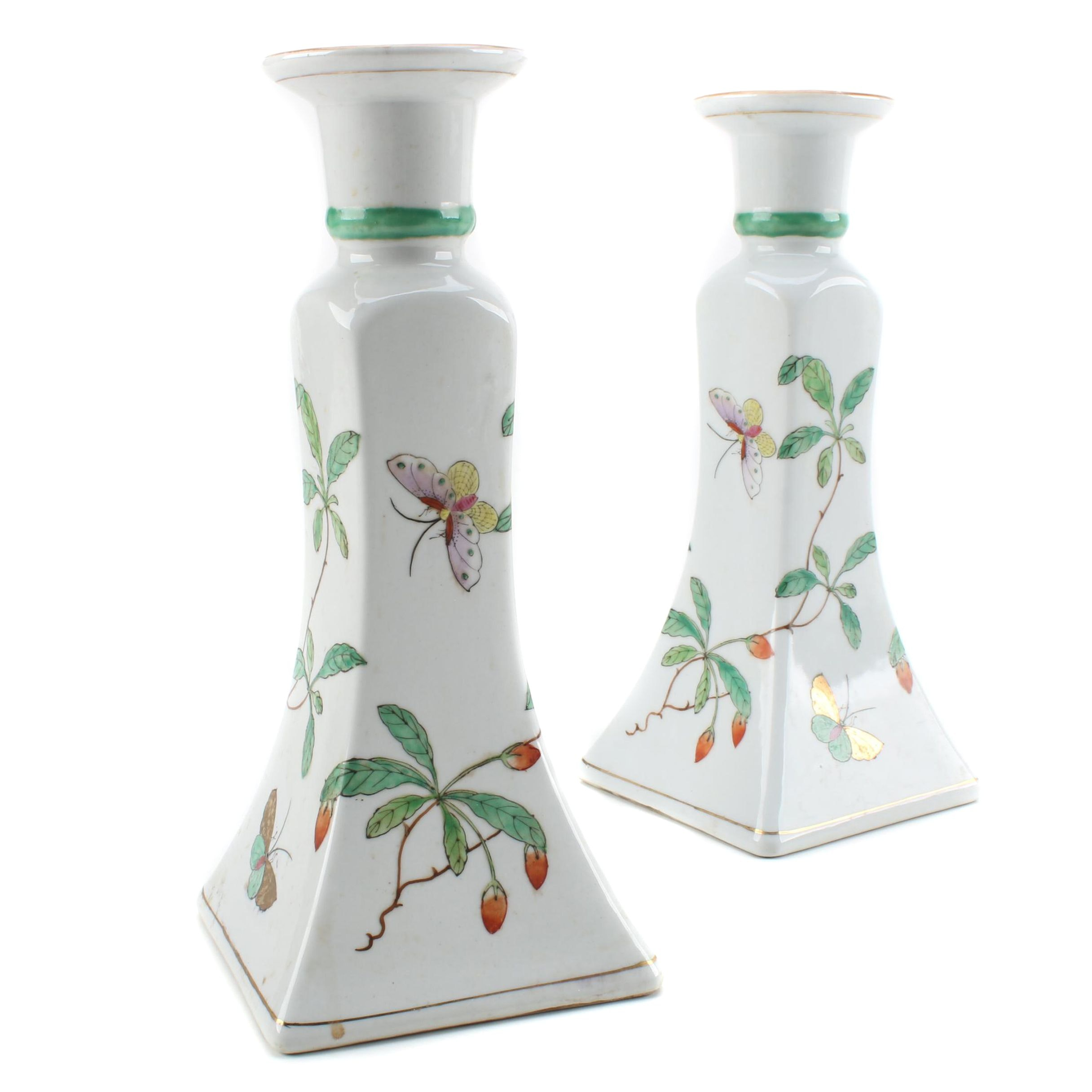 Chinese Porcelain Candlestick Holders