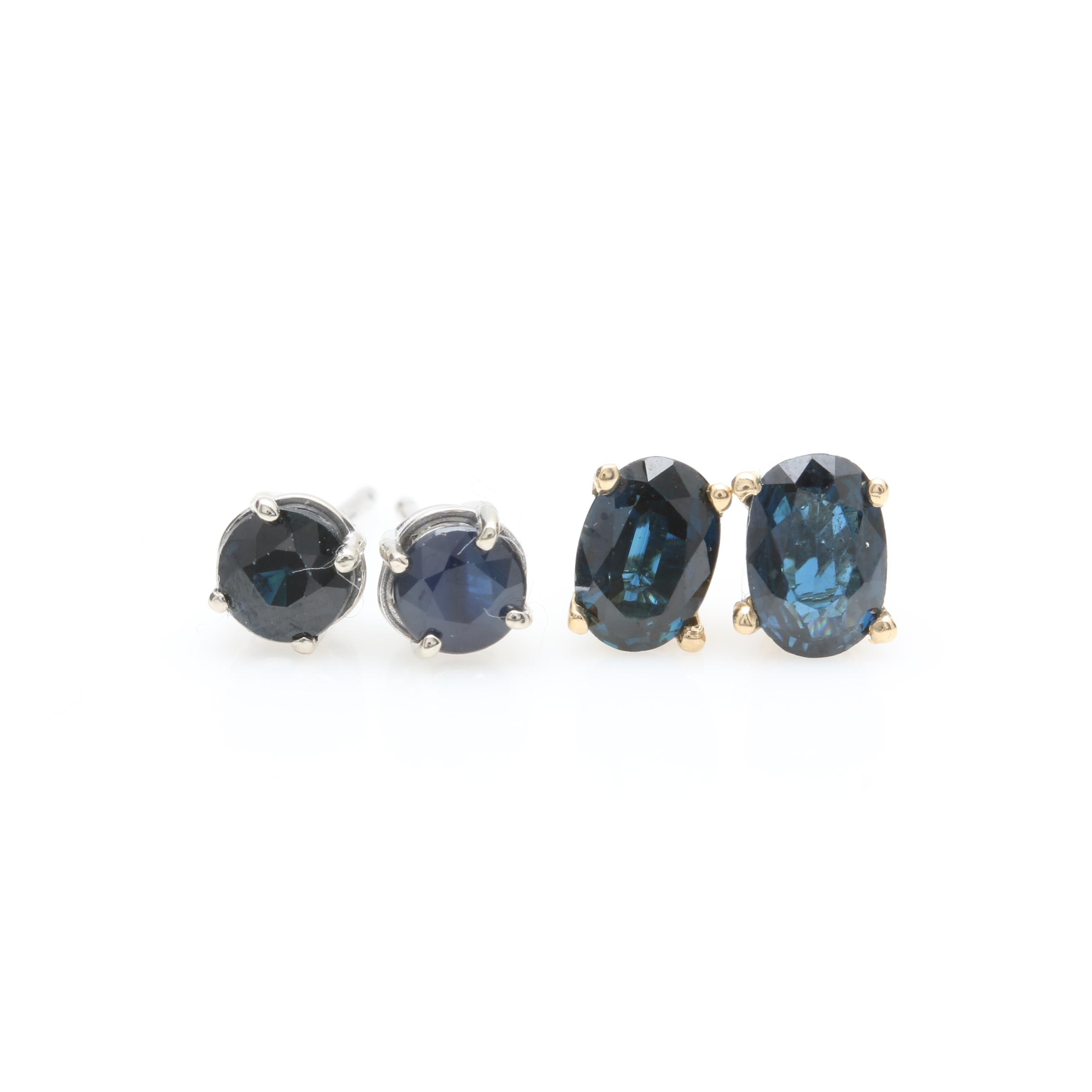 14K Yellow and White Gold Sapphire Stud Earring Selection