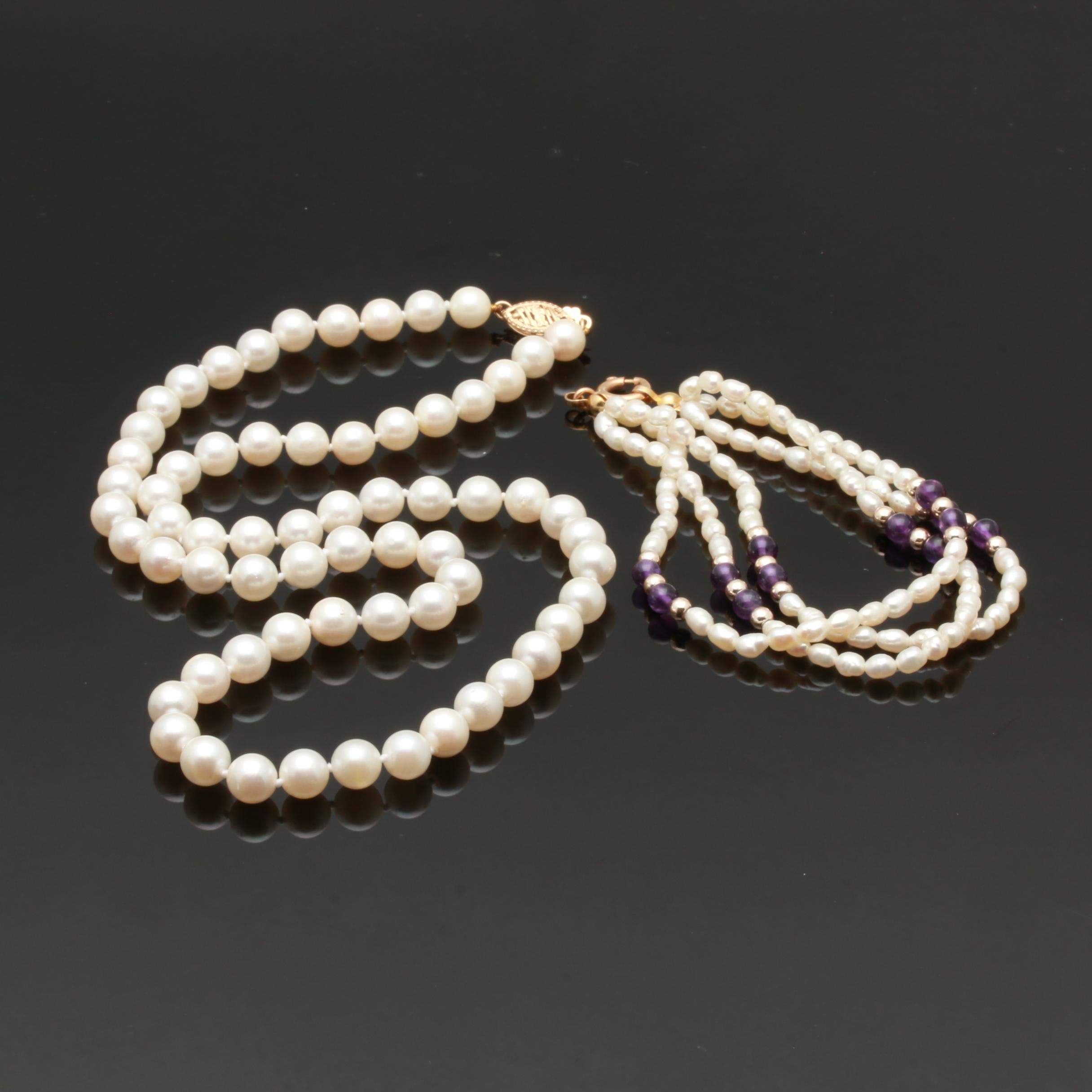 14K Yellow Gold Cultured Pearl Necklace and Bracelet Including Amethyst