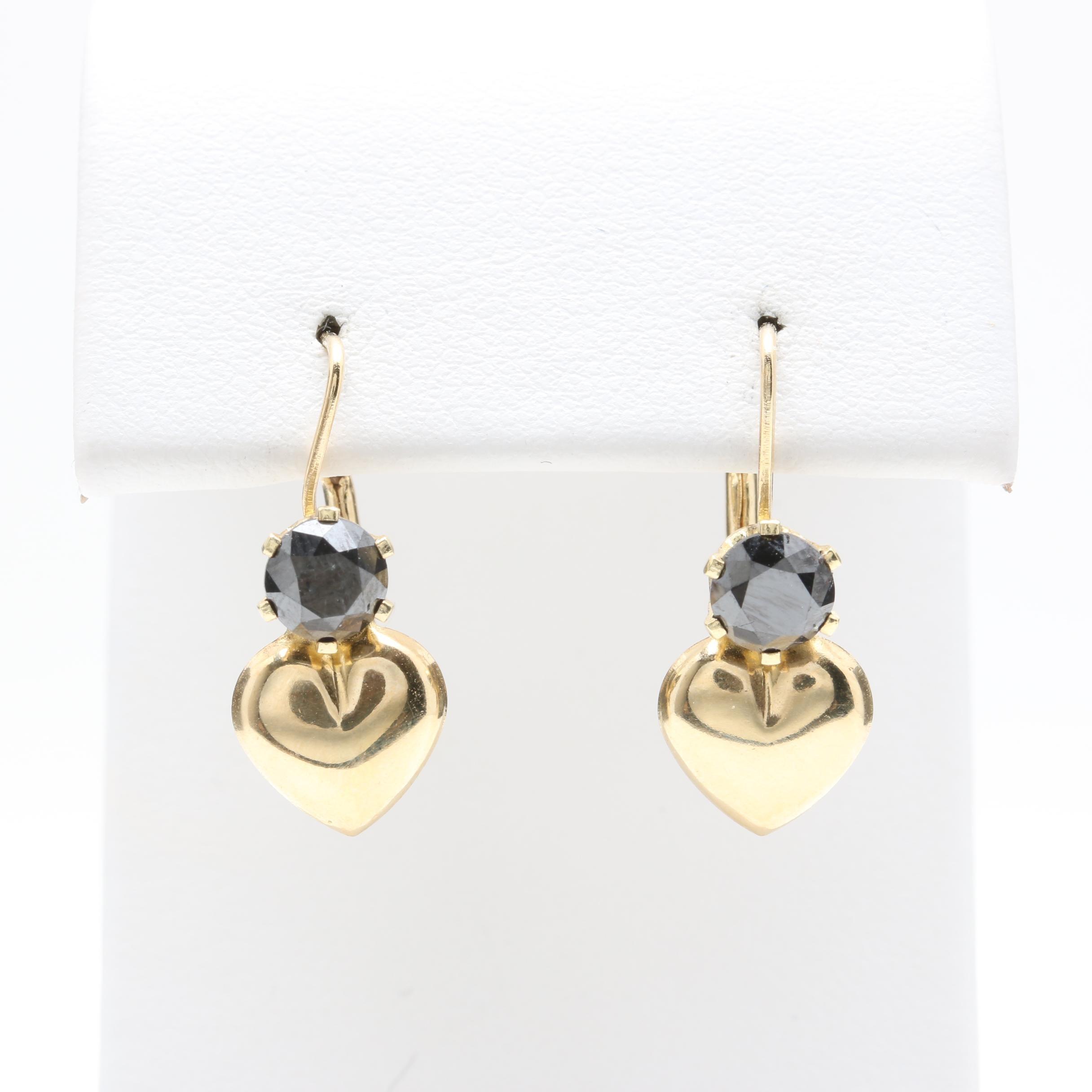 14K Yellow Gold Black Diamond Drop Earrings