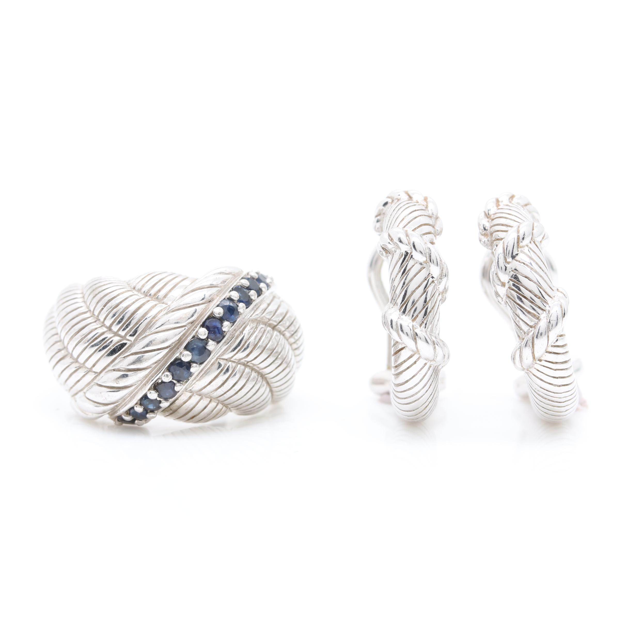 Judith Ripka Sterling Silver Earrings and Synthetic Sapphire Ring