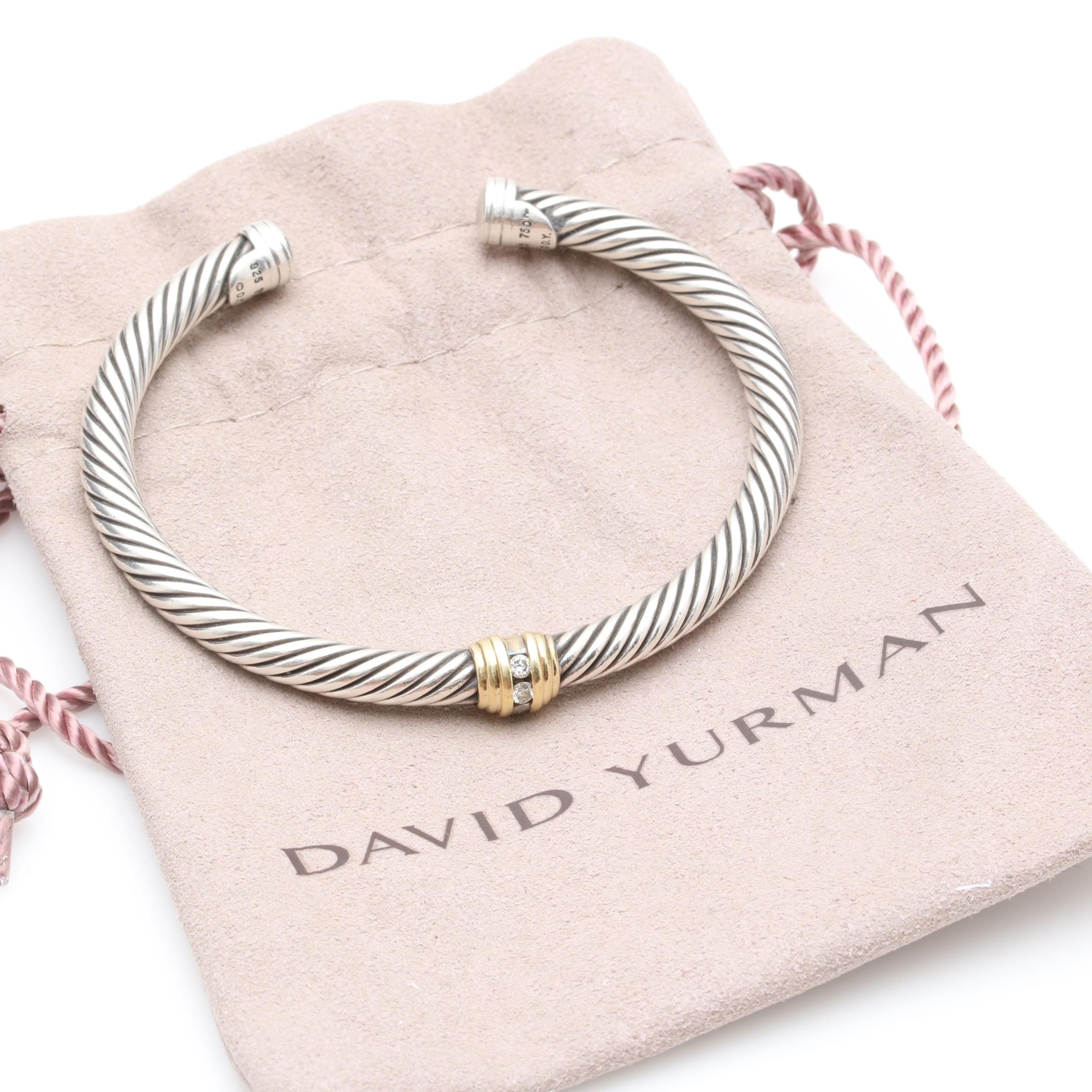 David Yurman Sterling Silver Diamond Cuff Bracelet With 18K Yellow Gold Accents