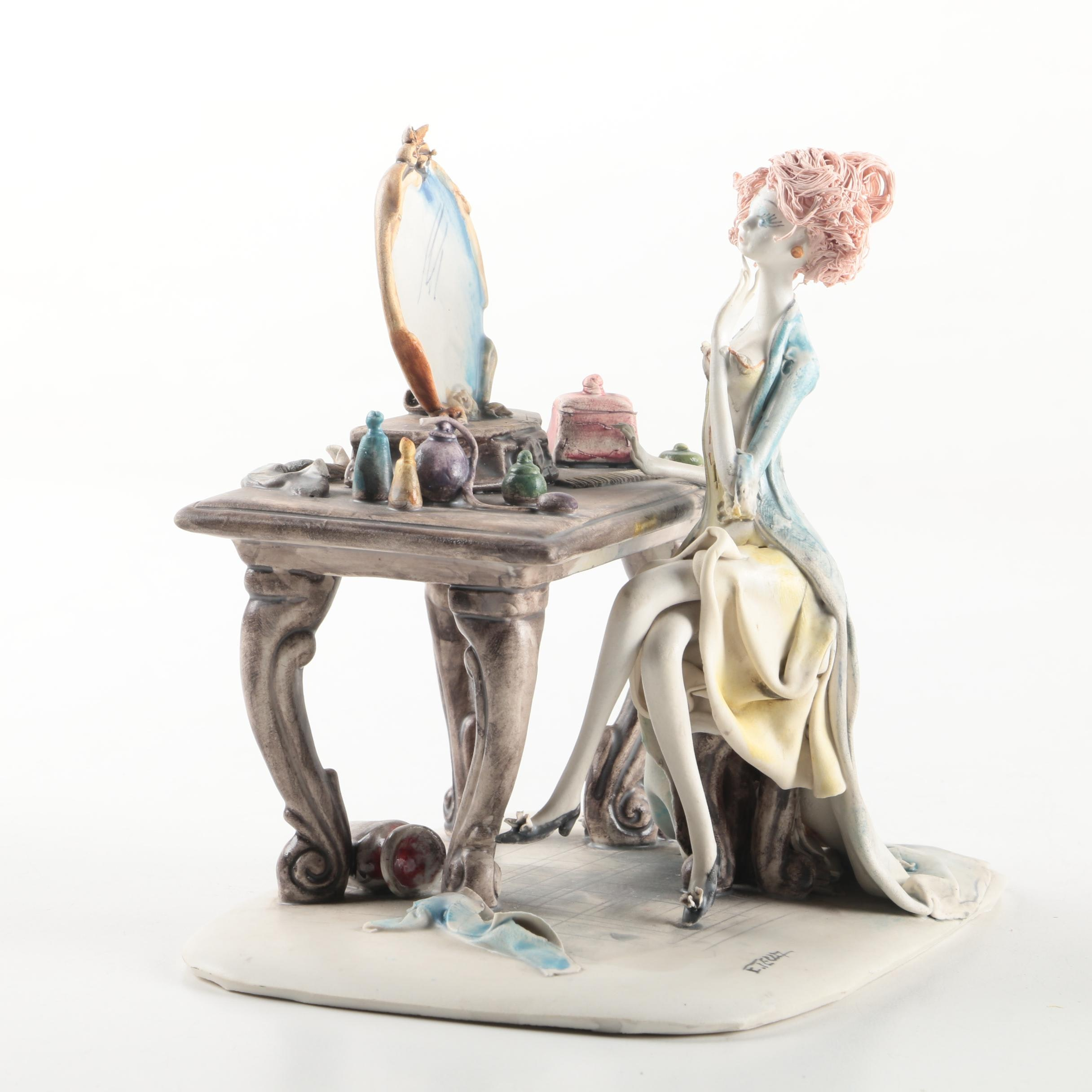 E. Tezza Porcelain Figurine of a Lady Sitting at Her Mirror