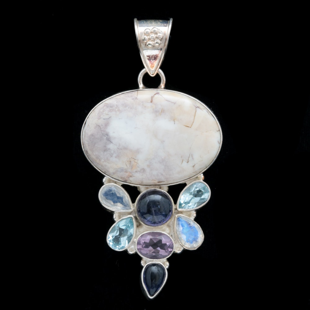 Sterling Silver, Agate, Blue Topaz, Moonstone, Amethyst and Dyed Quartz Pendant
