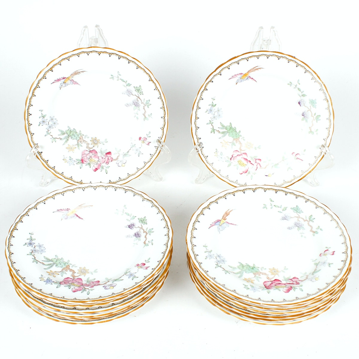 Tuscan Fine English Bone China Salad Plates with Birds and Flowers
