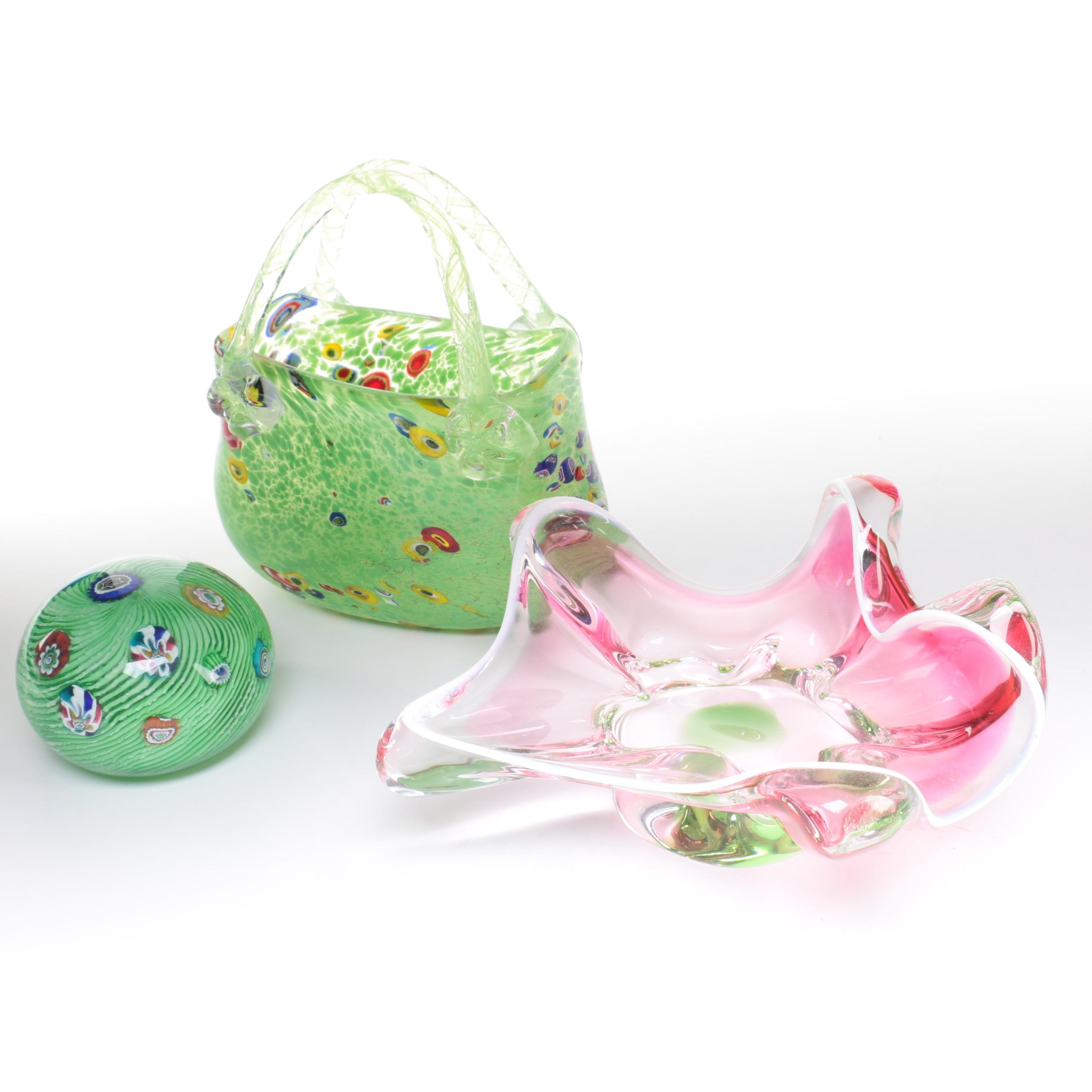 Hand Blown Murano Style Art Glass Paperweight, Purse, and Freeform Bowl