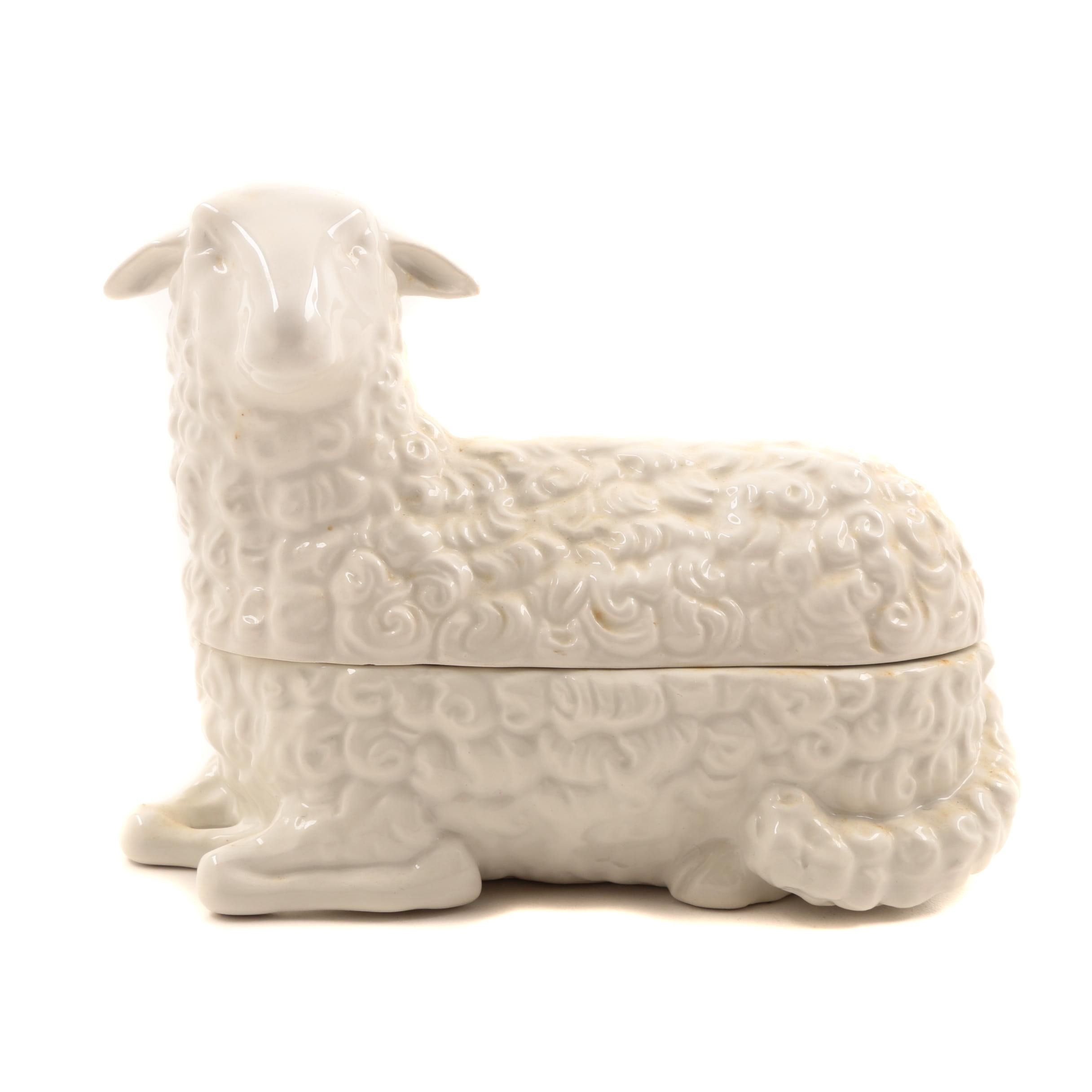Italian MMA/UPM Porcelain Sheep Trinket Box