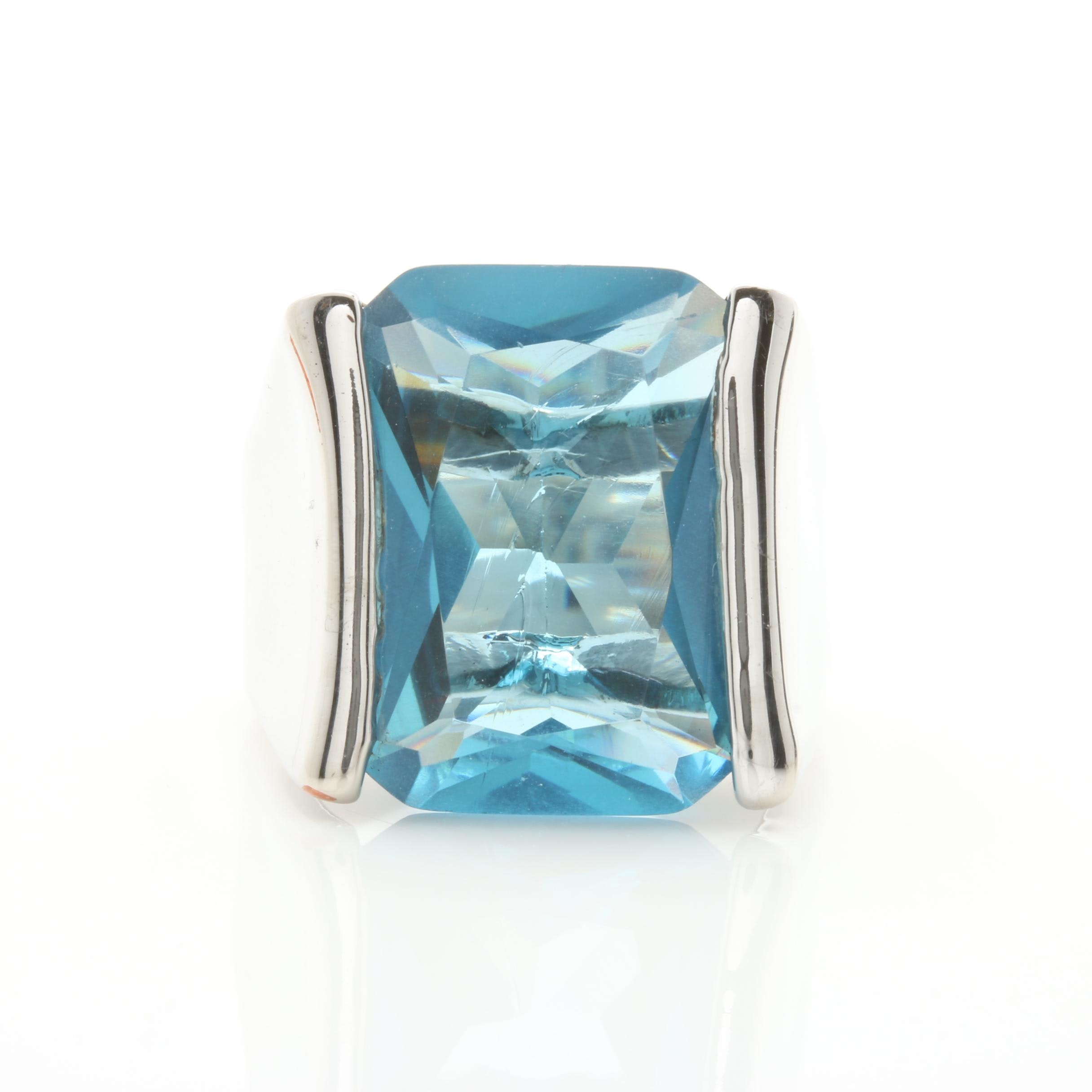 Silver Tone Glass Ring
