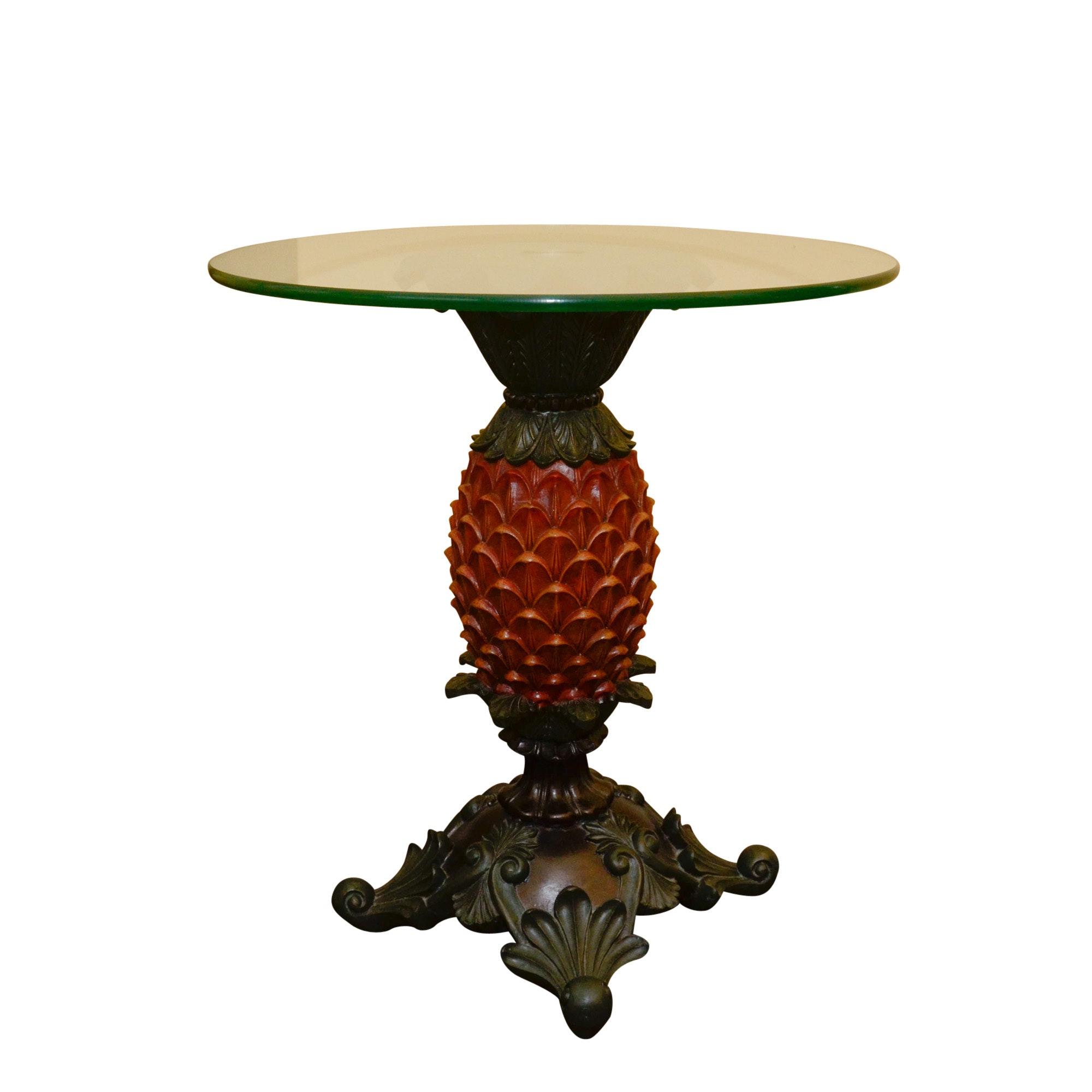 Decorative Glass Top Pedestal Accent Table