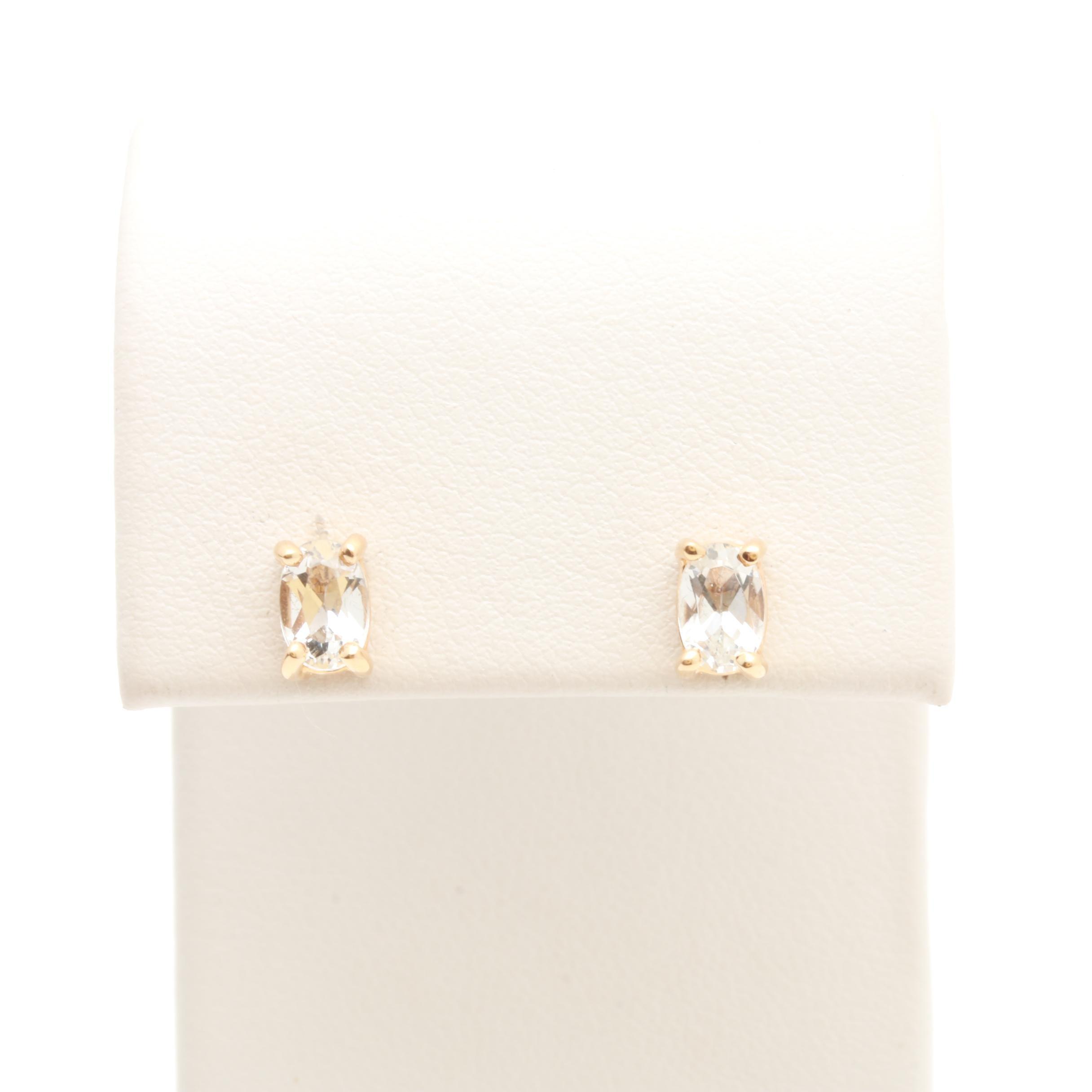14K Yellow Gold White Topaz Stud Earrings