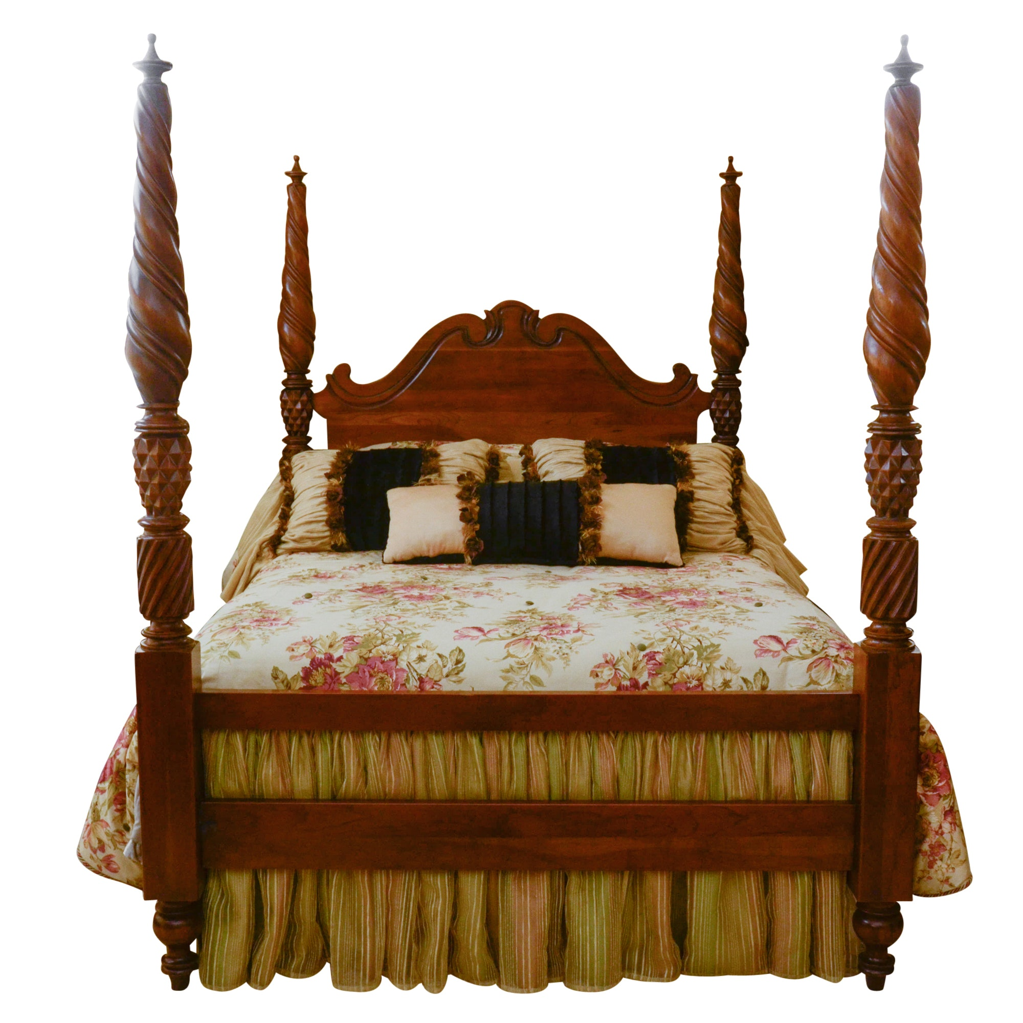 Walnut Finish Queen Poster Bed