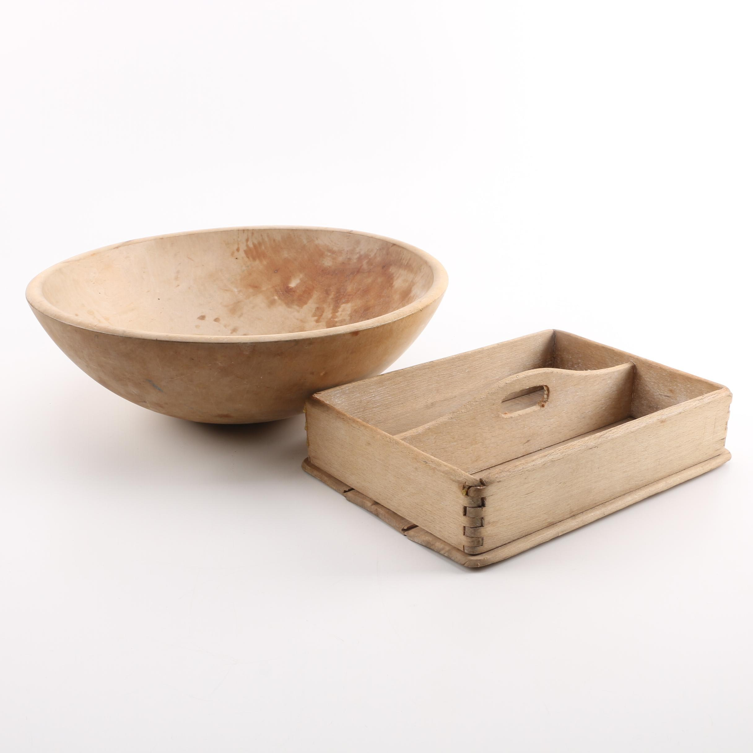 Munising Dough Bowl and Wooden Serving Tray with Central Carrying Handle