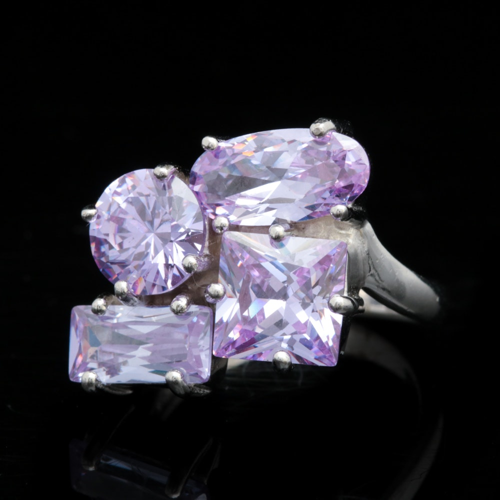 Sterling Silver and Purple Cubic Zirconia Ring