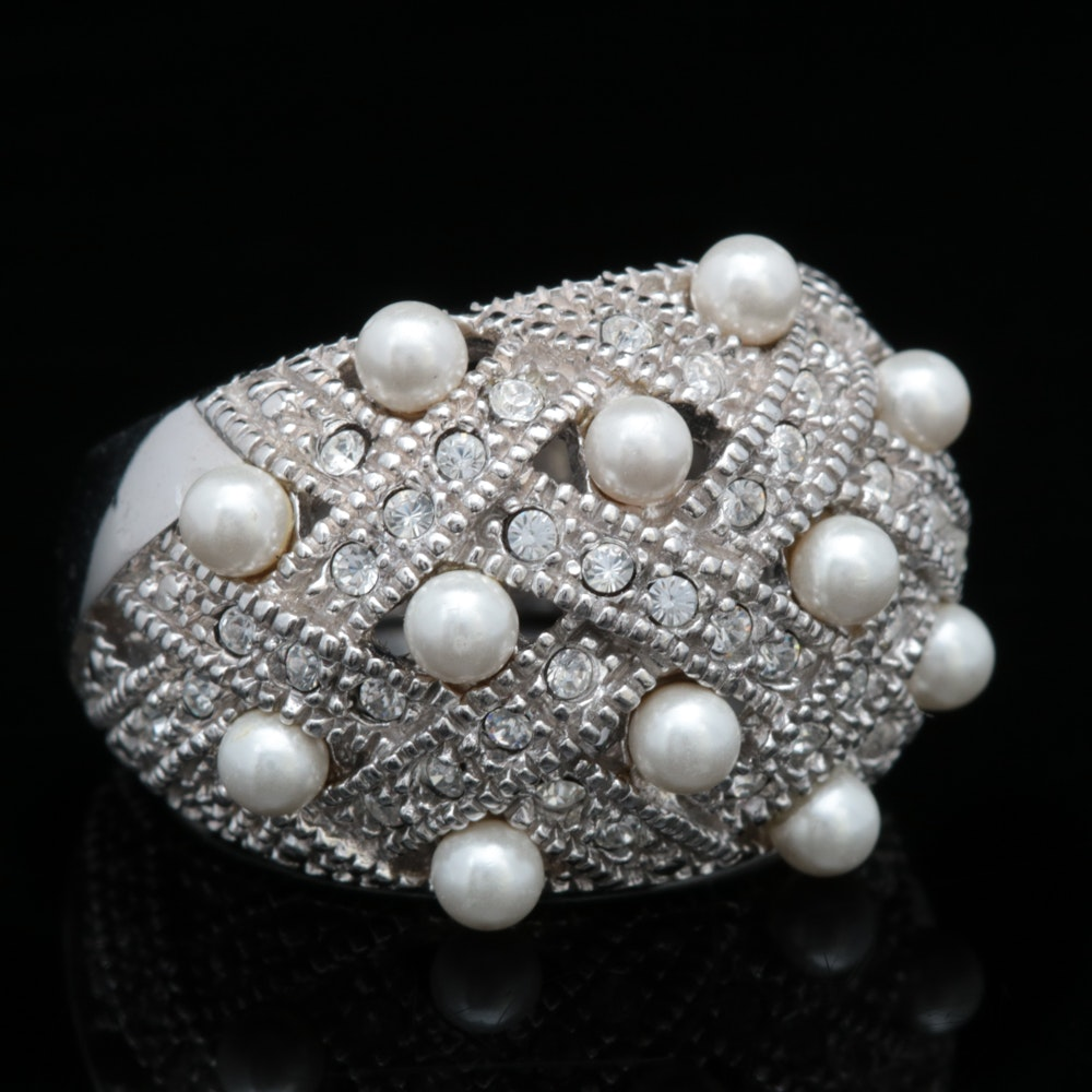 Sterling Silver, Cubic Zirconia and Faux Pearl Ring