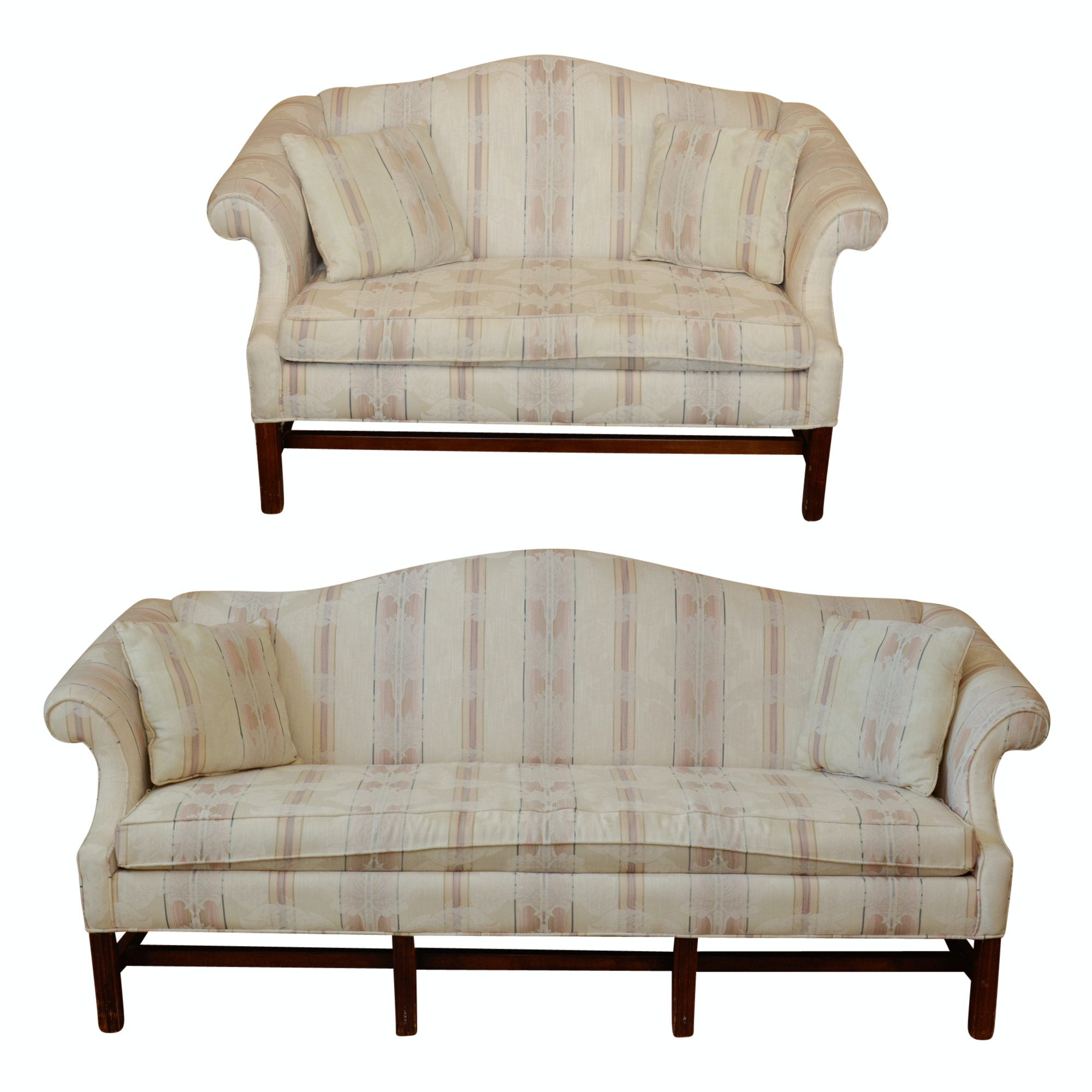 Chippendale Style Upholstered Sofa and Love Seat by Bassett