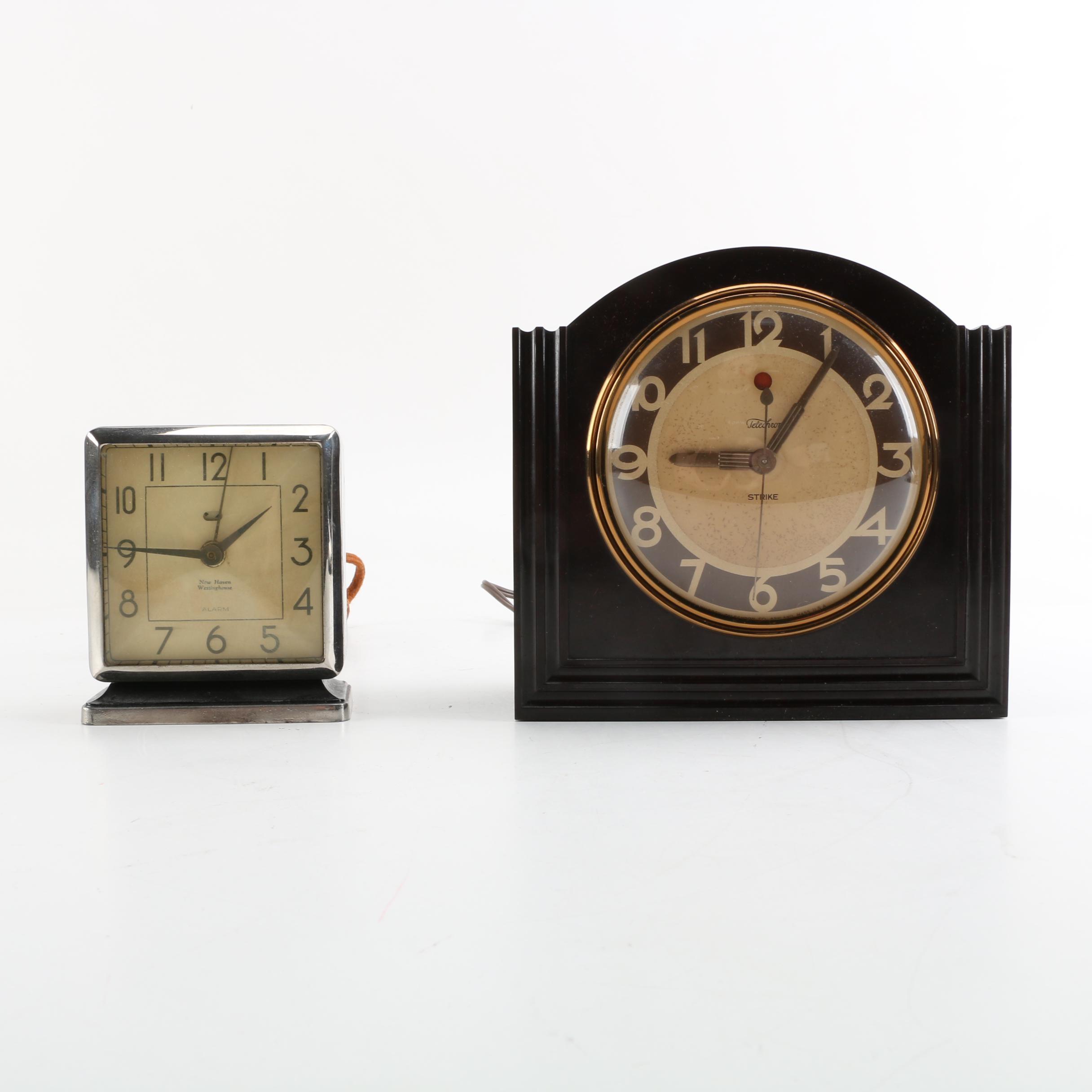 Vintage New Haven and Telechron Art Deco Mantel Clocks