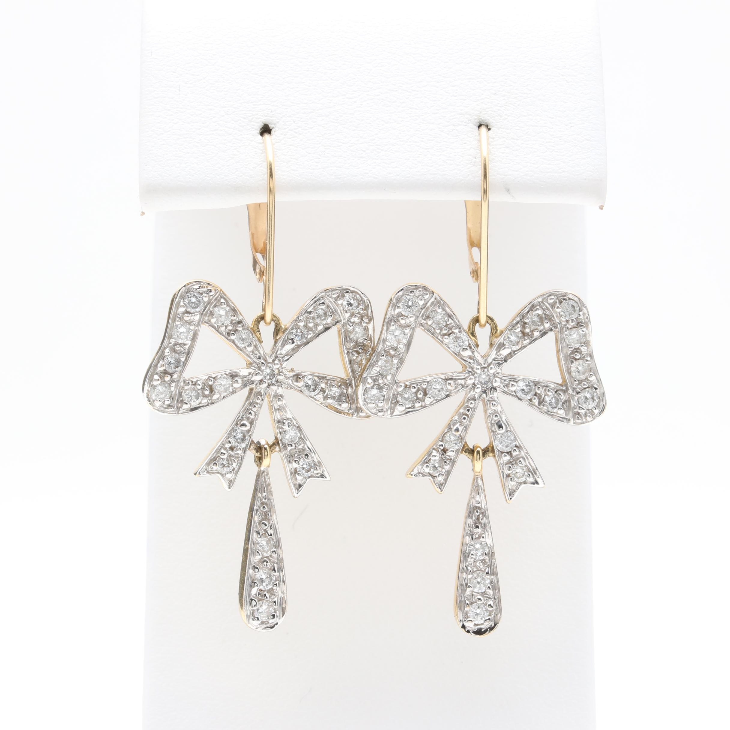 14K Yellow Gold 0.96 CTW Diamond Bow Earrings With White Gold Accents