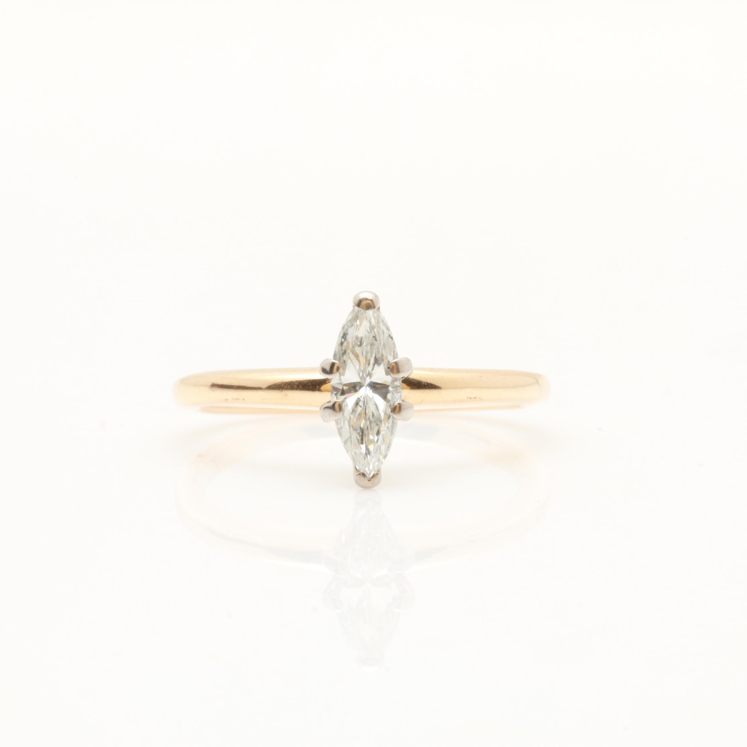 Jabel 14K Yellow Gold Marquise Diamond Solitaire Ring