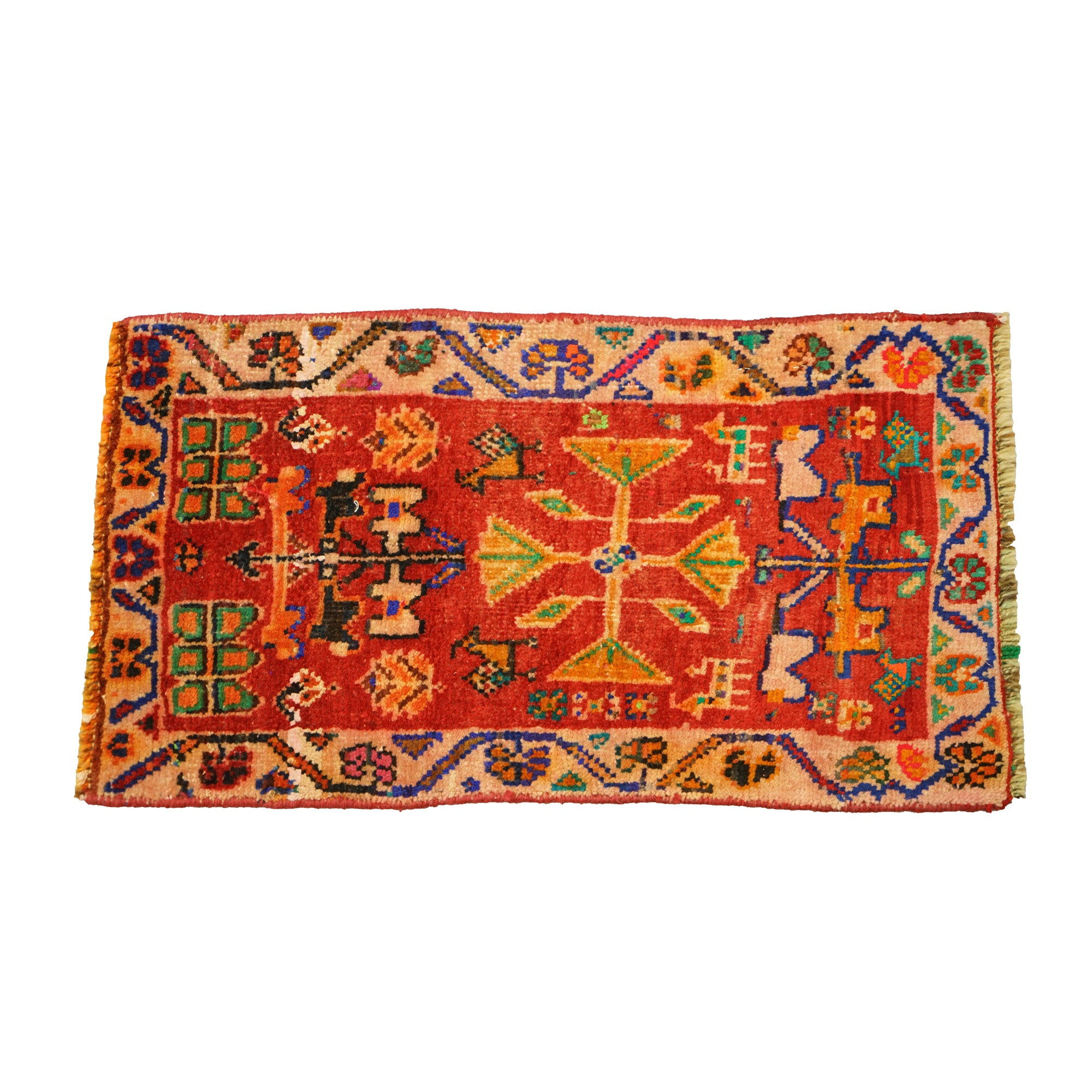 Hand-Knotted Persian Tribal Wool Floor Mat