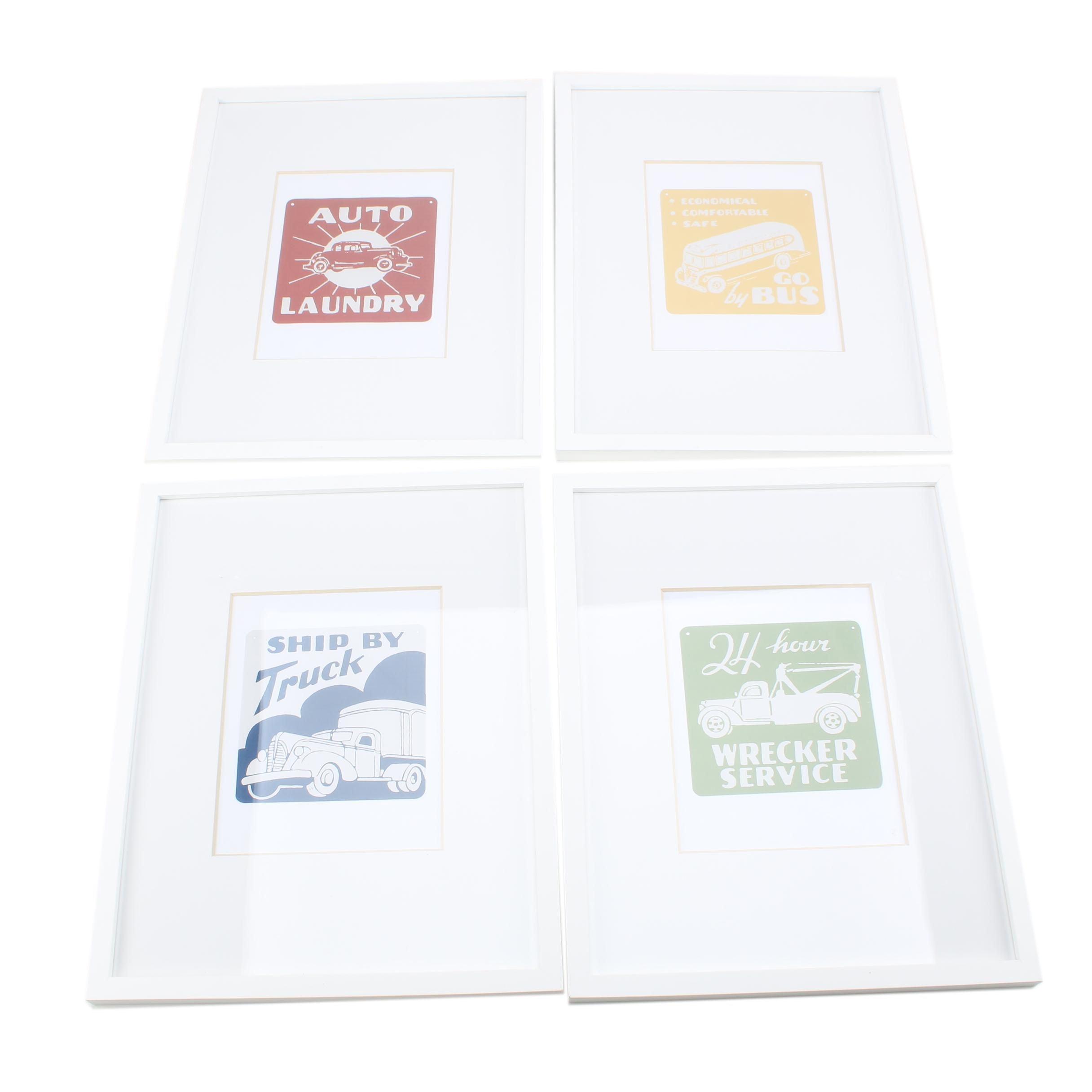 "Contemporary Giclée Prints Including ""Auto Laundry"" and ""Go by Bus"""